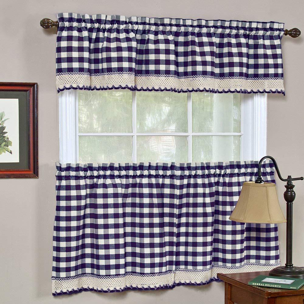Achim Semi Opaque Buffalo Check Navy Poly/cotton Window Curtain Panel 42 In. W X 63 In (View 3 of 20)