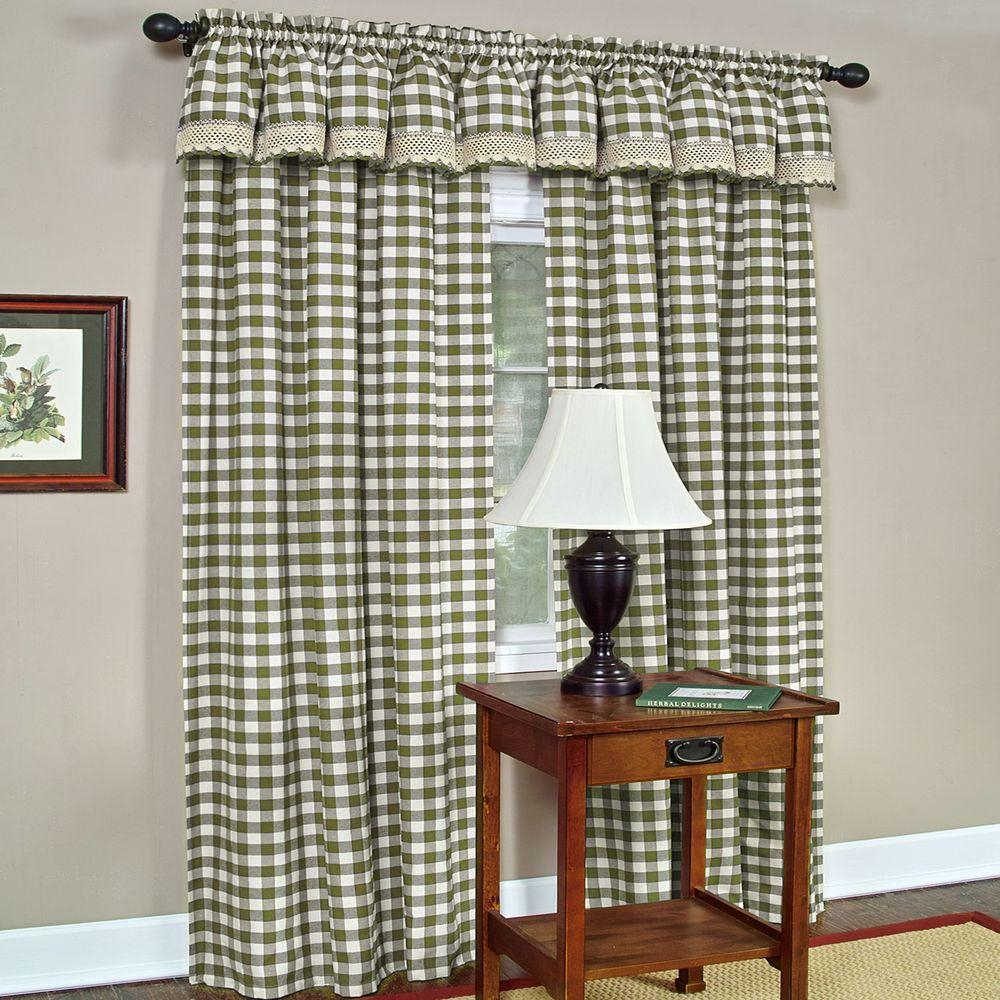 Achim Semi Opaque Buffalo Check Sage Poly/cotton Window Curtain Panel 42 In. W X 84 In (View 10 of 20)