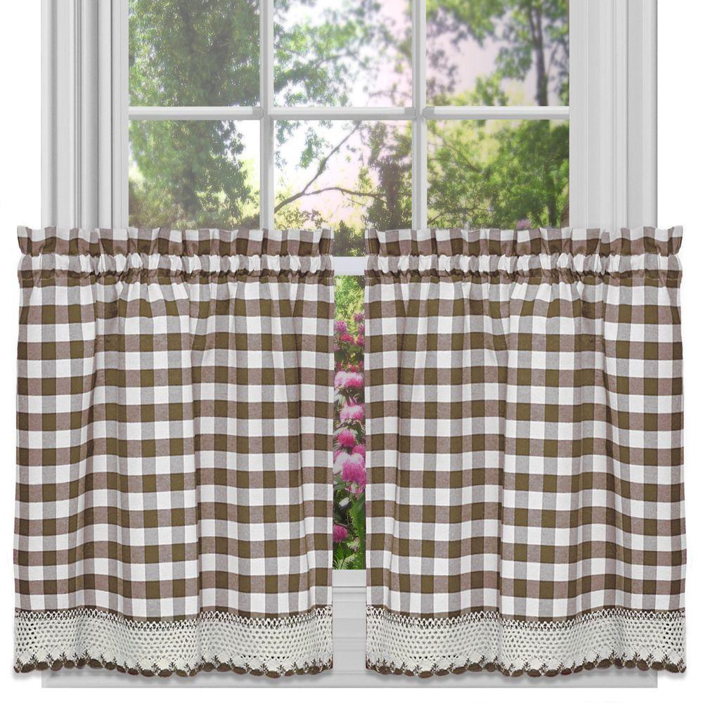 Achim Semi Opaque Buffalo Check Taupe Rod Pocket Tier Pair In Barnyard Buffalo Check Rooster Window Valances (View 19 of 20)