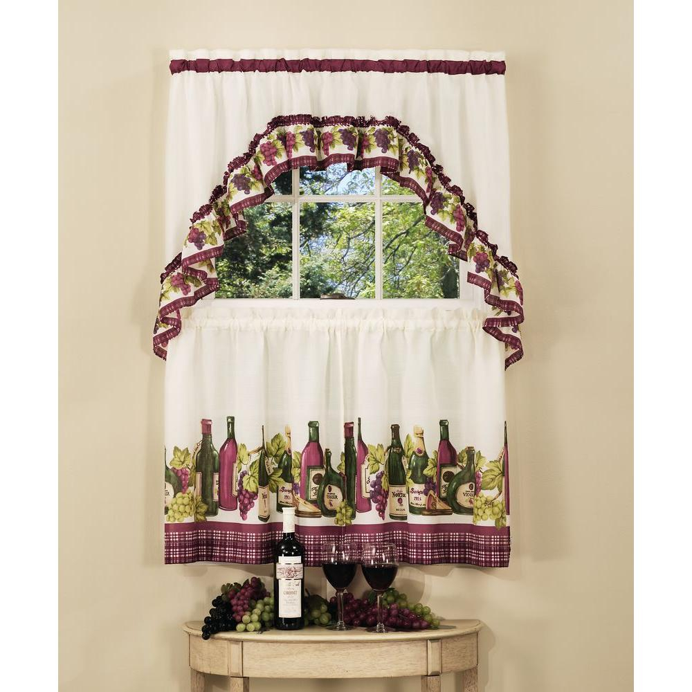Popular Photo of Chardonnay Tier And Swag Kitchen Curtain Sets
