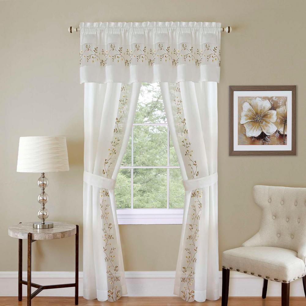 Achim Sheer Fairfield White Window Curtain Set – 55 In. W X 63 In (View 7 of 20)