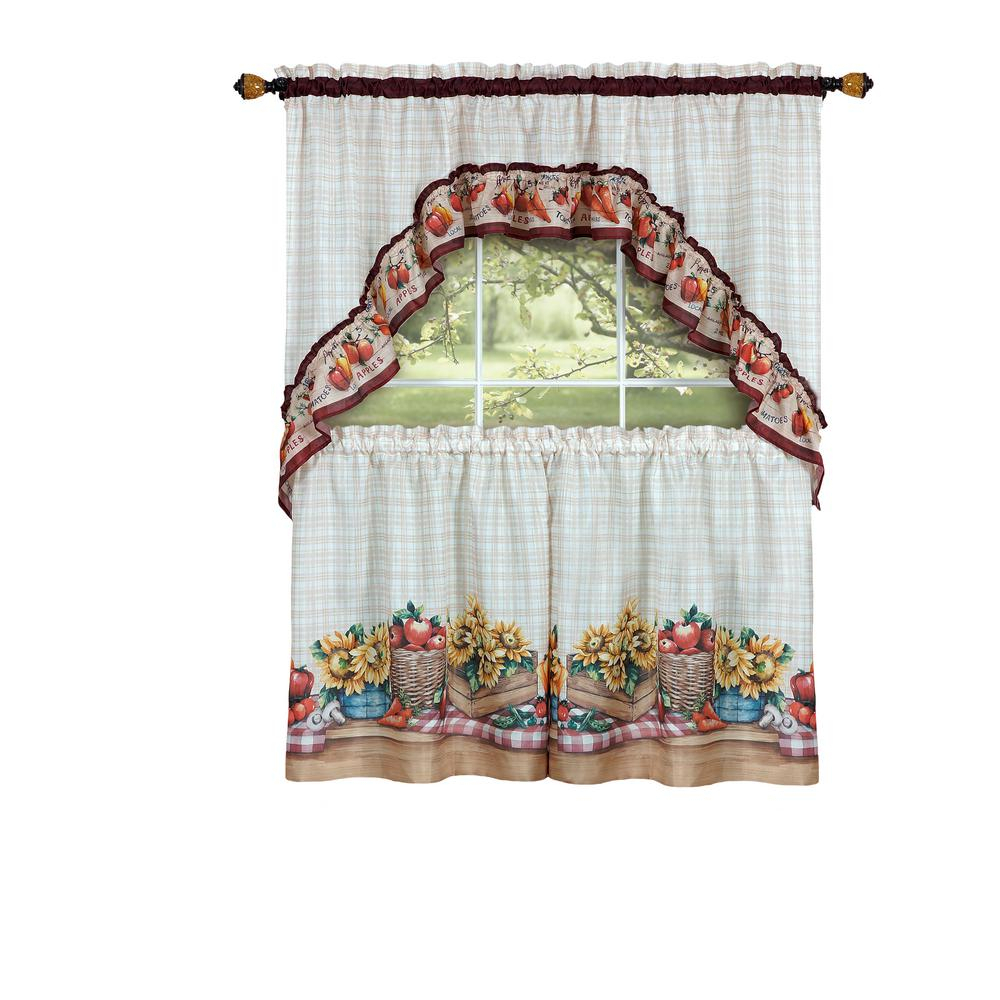 Achim Sheer Farmer's Market Multi Colored Printed Tier And Swag Window Curtain Set – 57 In. W X 36 In (View 3 of 20)