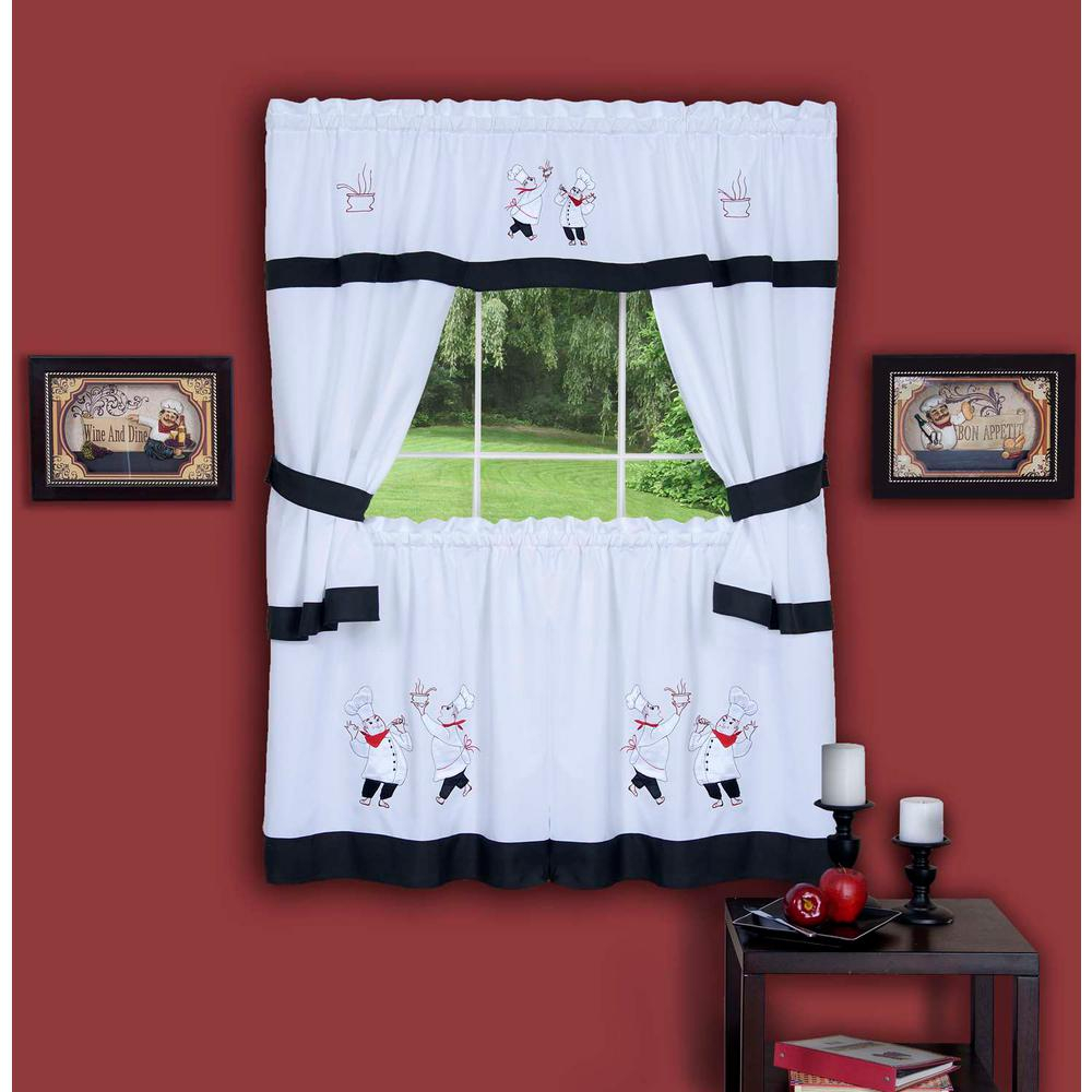 Achim Sheer Gourmet Black Embellished Cottage Window Curtain Set – 58 In. W X 36 In (View 4 of 20)