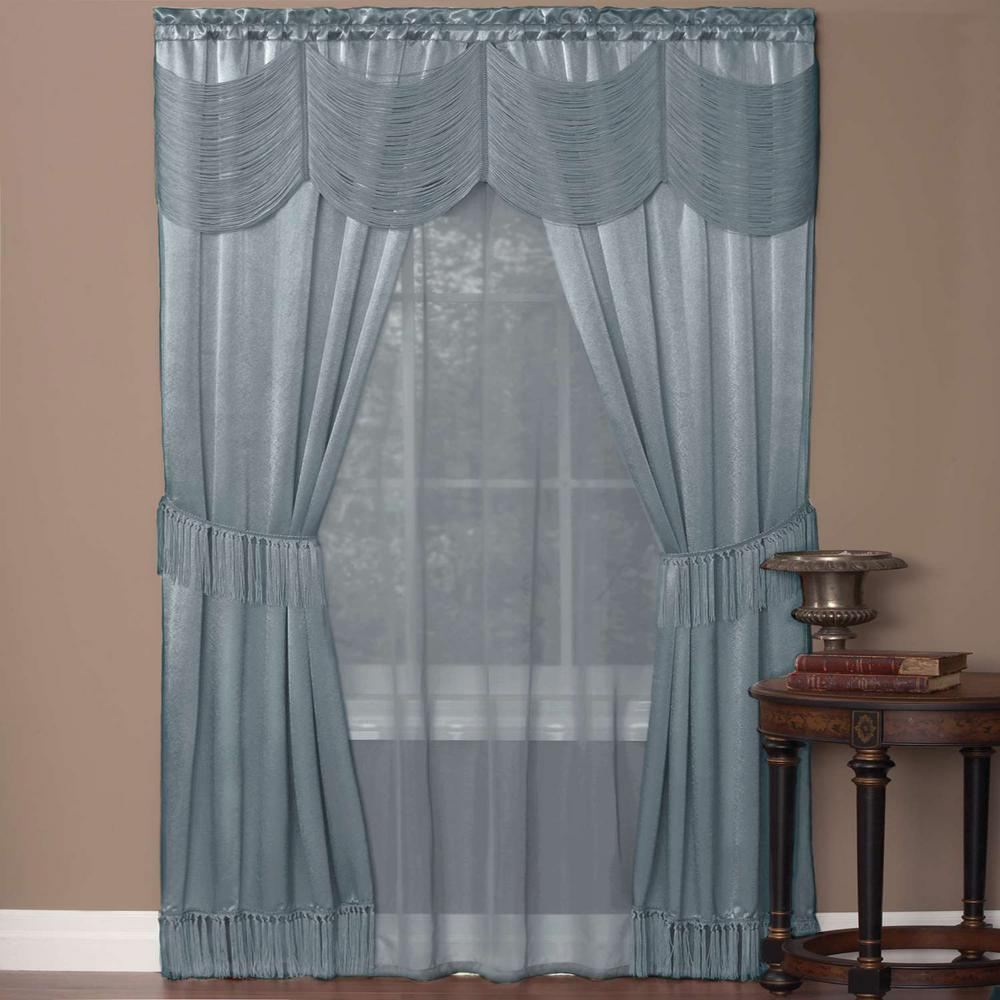 Achim Sheer Halley Ice Blue Window Curtain Set – 56 In. W X 84 In (View 8 of 20)