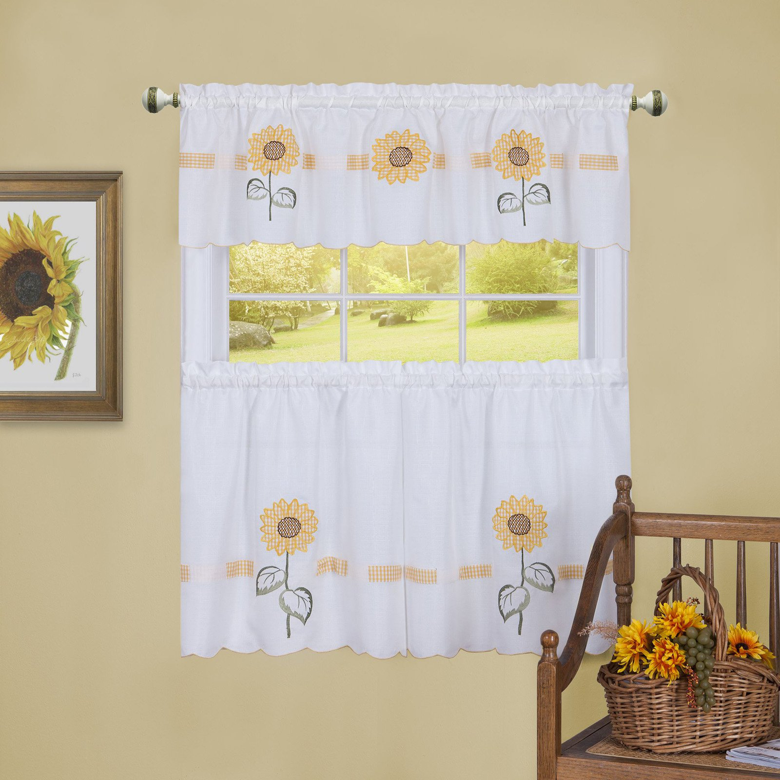 Achim Sun Blossoms Embellished Tier And Valance Window Regarding Traditional Tailored Window Curtains With Embroidered Yellow Sunflowers (View 3 of 20)