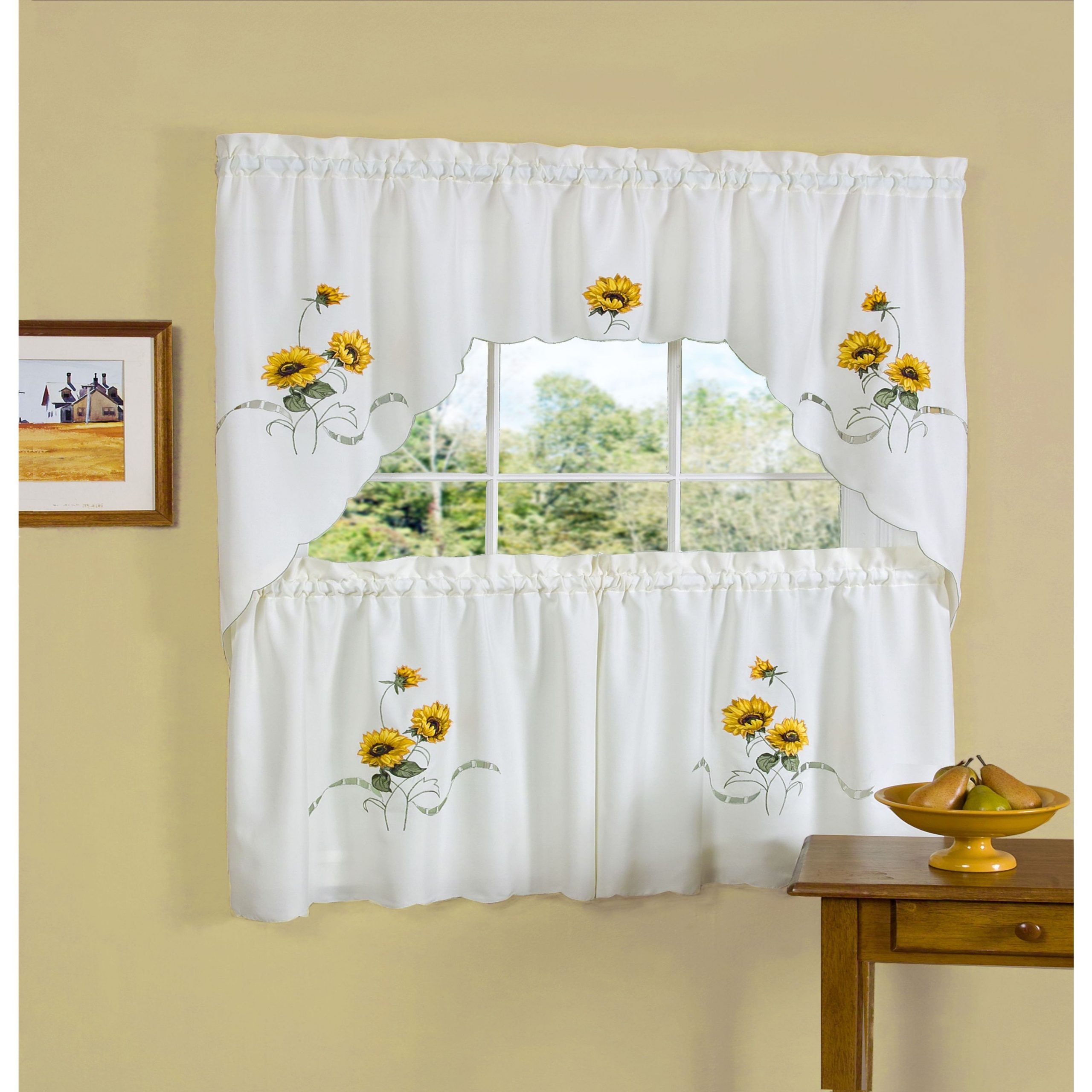Achim Sunshine Embellished Tier And Swag Window Set Within Spring Daisy Tiered Curtain 3 Piece Sets (View 2 of 20)