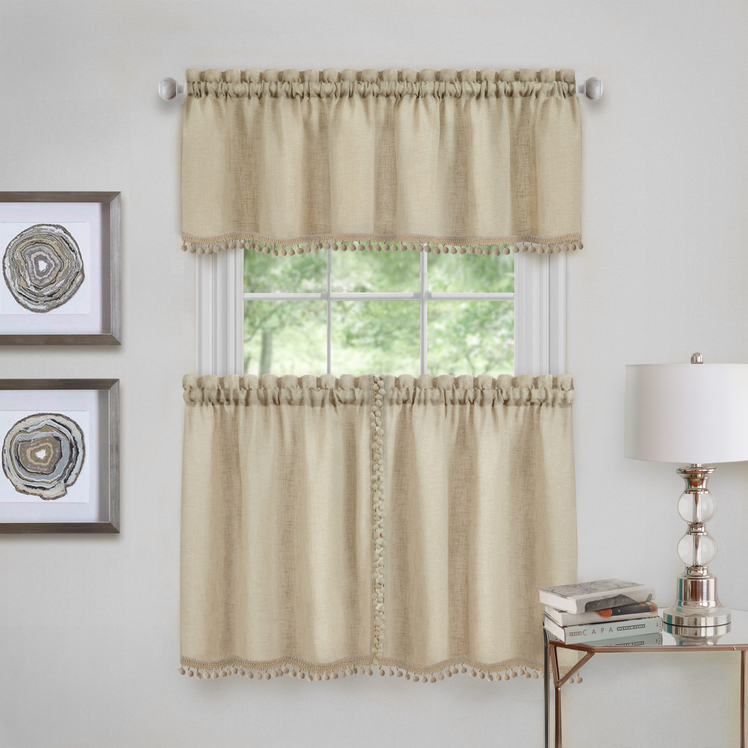 Achim Wallace Window Kitchen Curtain Tier Pair And Valance Set – 58X24 – Linen In Coastal Tier And Valance Window Curtain Sets (View 6 of 20)