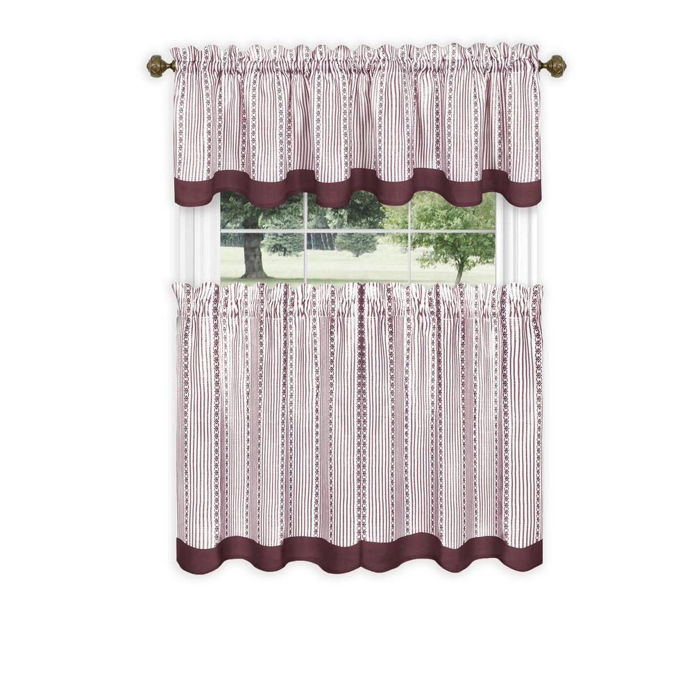 Achim Westport Light Filtering Polyester Tier And Valance Set In Burgundy – 58 In. W X 24 In (View 9 of 20)