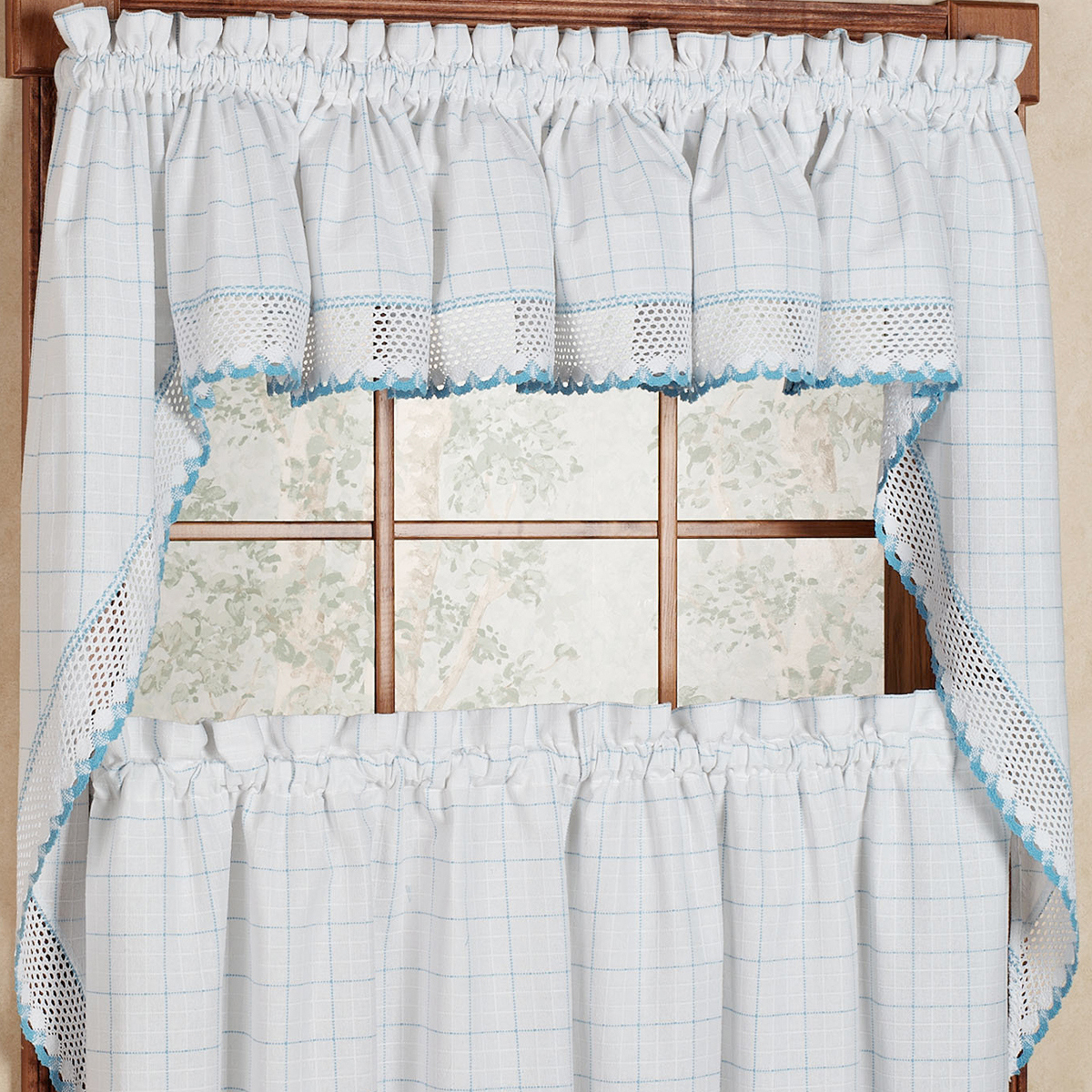 """Adirondack Cotton Kitchen Window Curtains – White/blue – 38"""" Swag Pair – Walmart In Cotton Classic Toast Window Pane Pattern And Crotchet Trim Tiers (View 1 of 20)"""