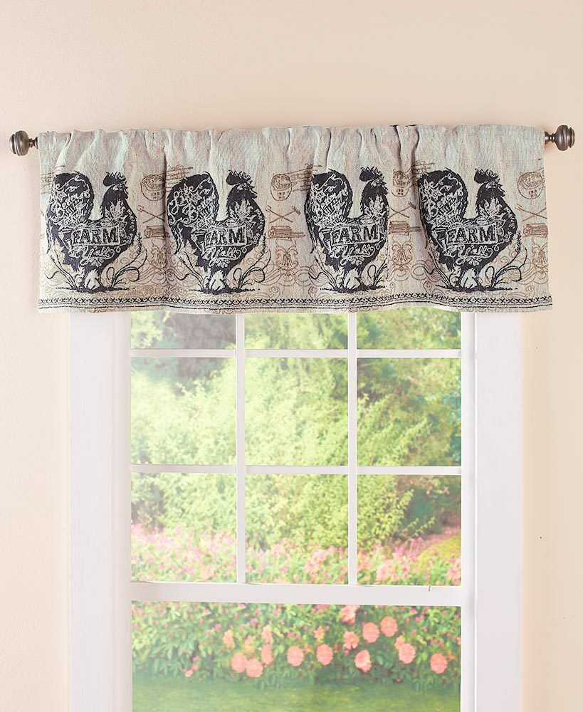 Agrarian French Country Rooster Tapestry Valance Rooster Farmhouse Valance Inside Barnyard Buffalo Check Rooster Window Valances (View 18 of 20)