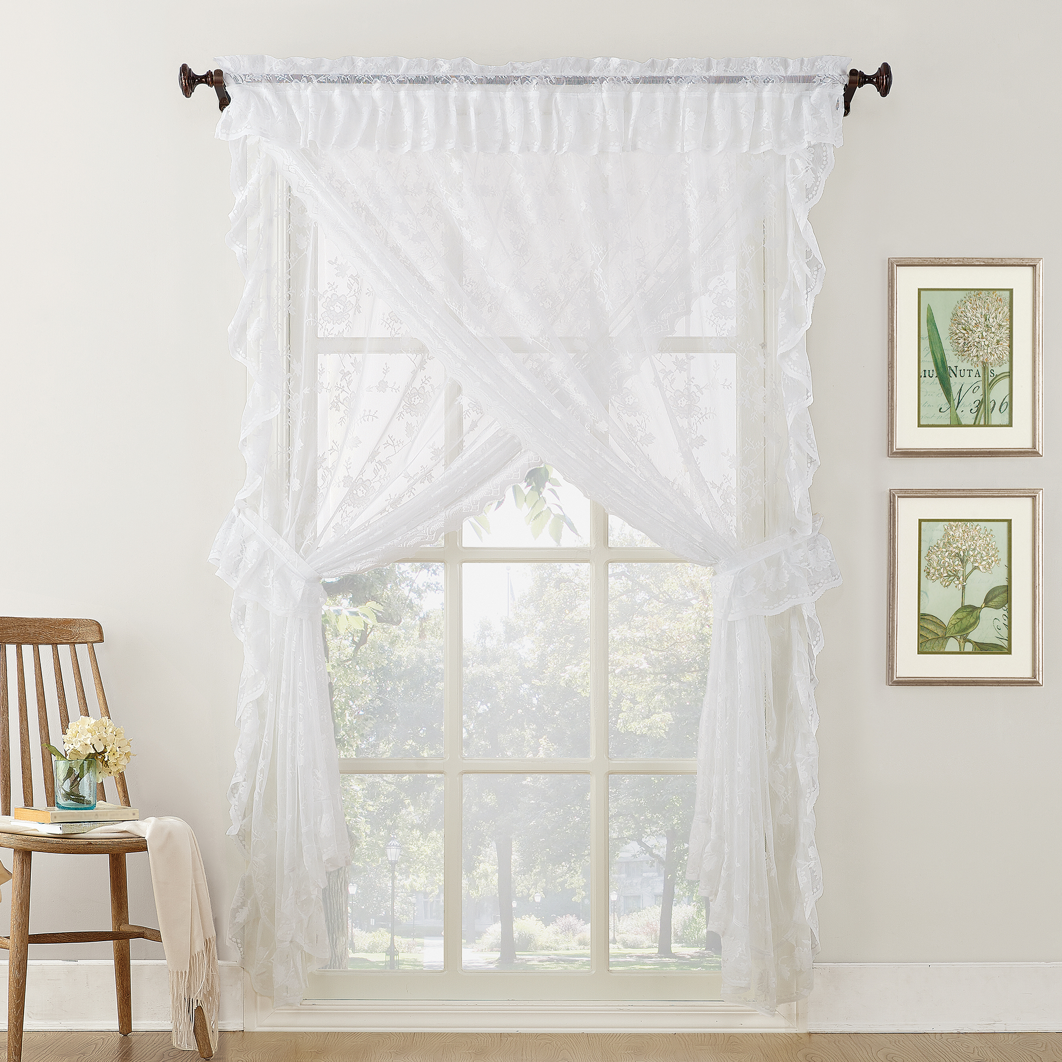 Alison Ruffled Floral Lace Sheer Priscilla 5Pc Curtain Set In Ivory Micro Striped Semi Sheer Window Curtain Pieces (View 1 of 20)