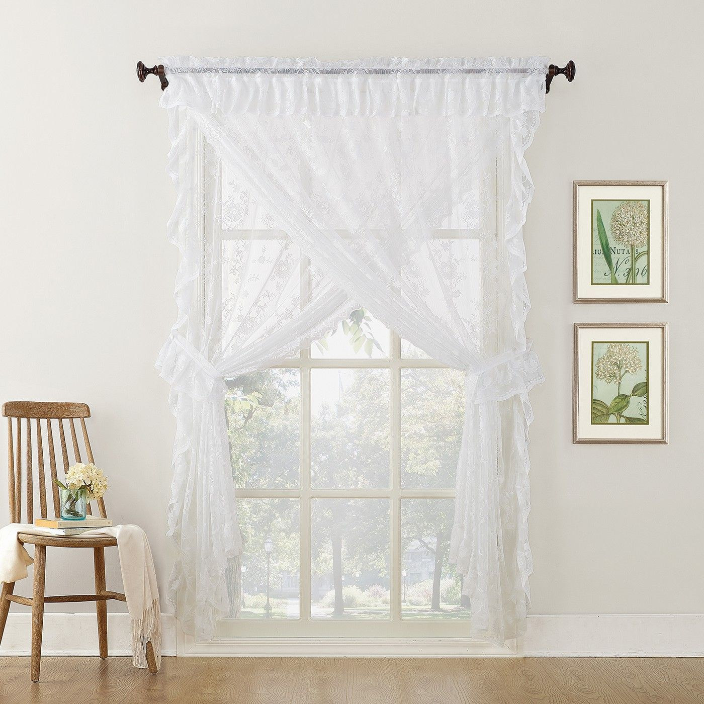 Alison Ruffled Floral Lace Sheer Priscilla 5Pc Curtain Set With Classic Kitchen Curtain Sets (View 3 of 20)