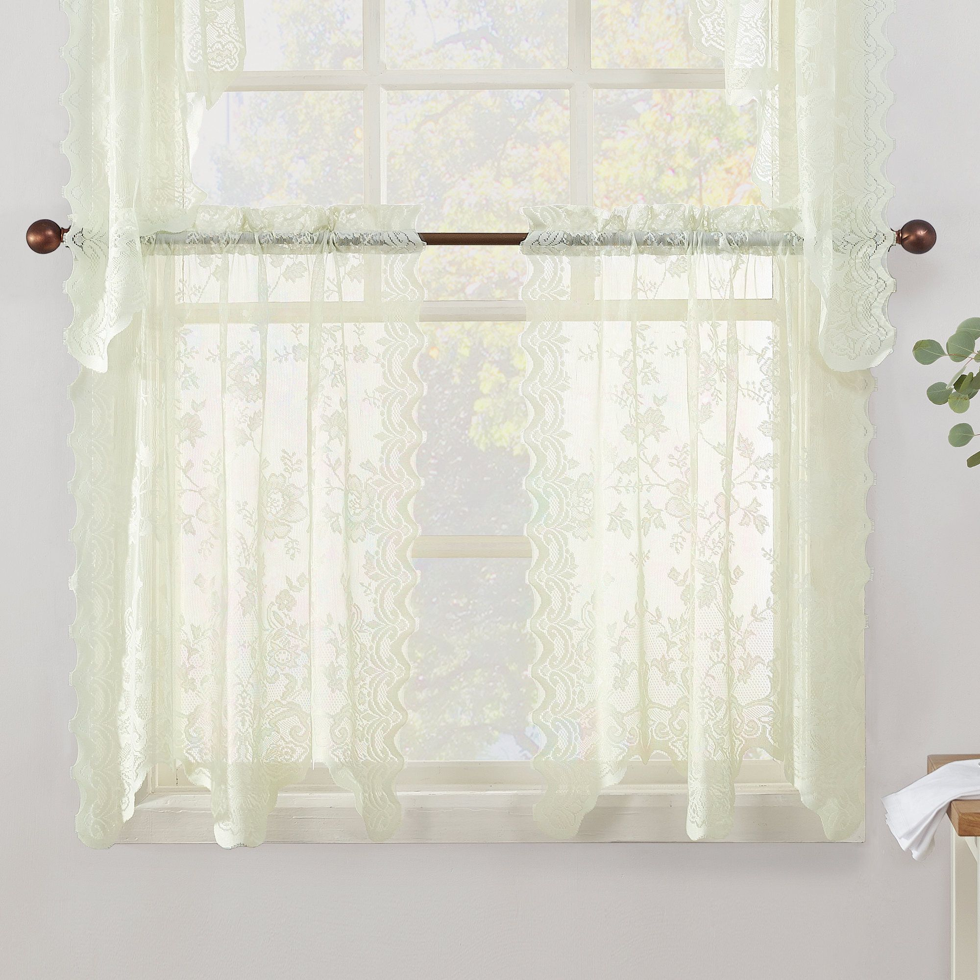 Alison Sheer Lace Tiers | Products | Curtains, Window Bed With Sheer Lace Elongated Kitchen Curtain Tier Pairs (View 3 of 20)