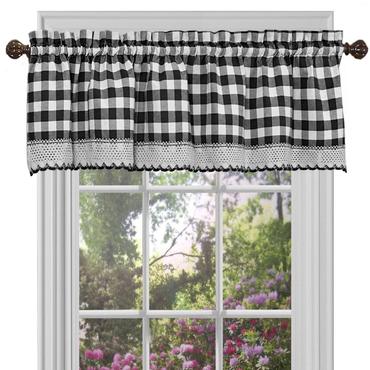 Alluring Black And White Checkered Kitchen Valance Valances Intended For Classic Black And White Curtain Tiers (View 3 of 20)