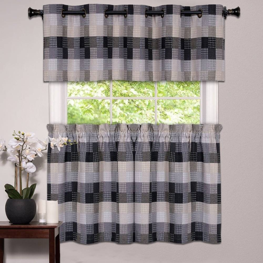 Alluring Black And White Checkered Kitchen Valance Valances Pertaining To Cotton Blend Grey Kitchen Curtain Tiers (View 2 of 20)