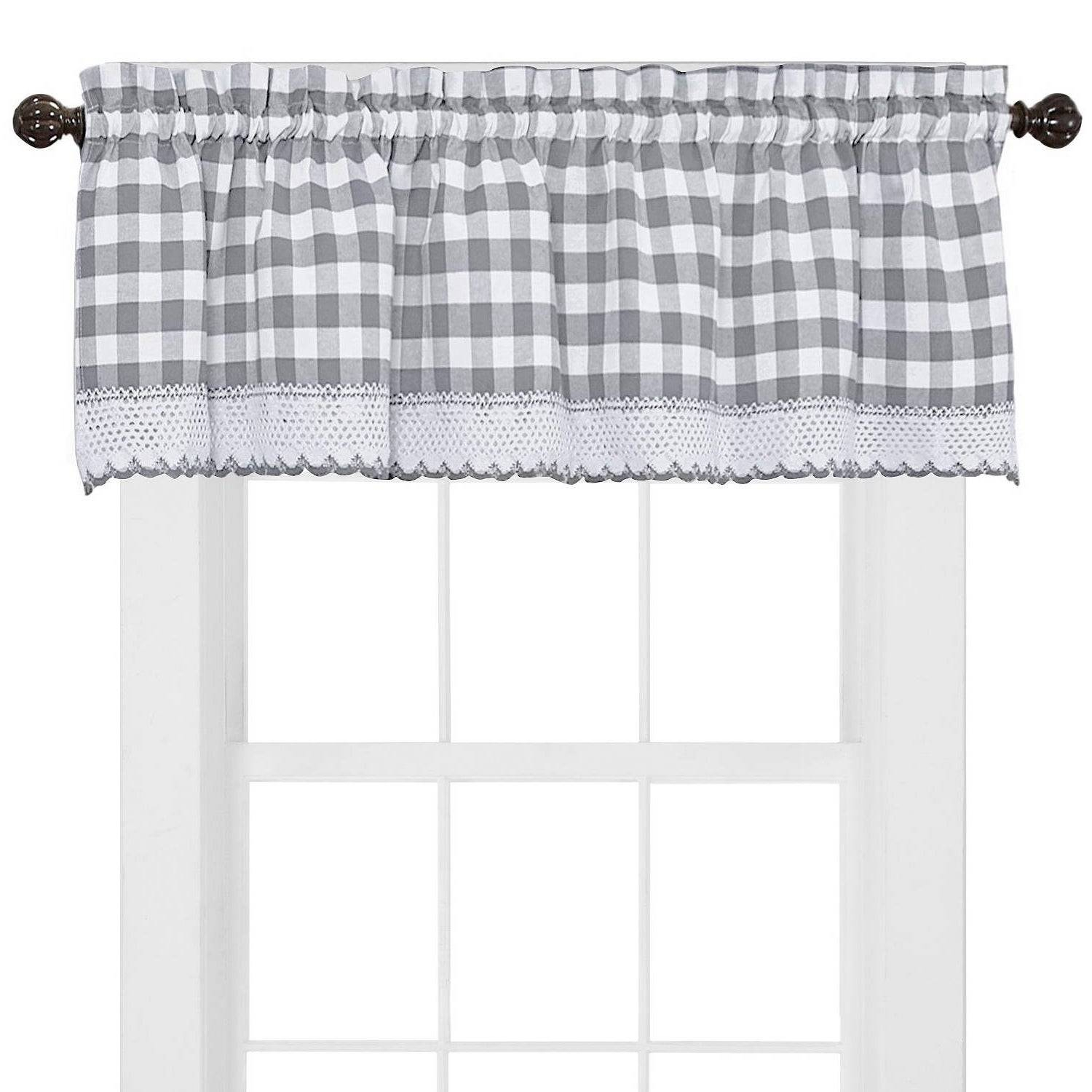 Alluring Black And White Checkered Kitchen Valance Valances Throughout Classic Black And White Curtain Tiers (View 4 of 20)