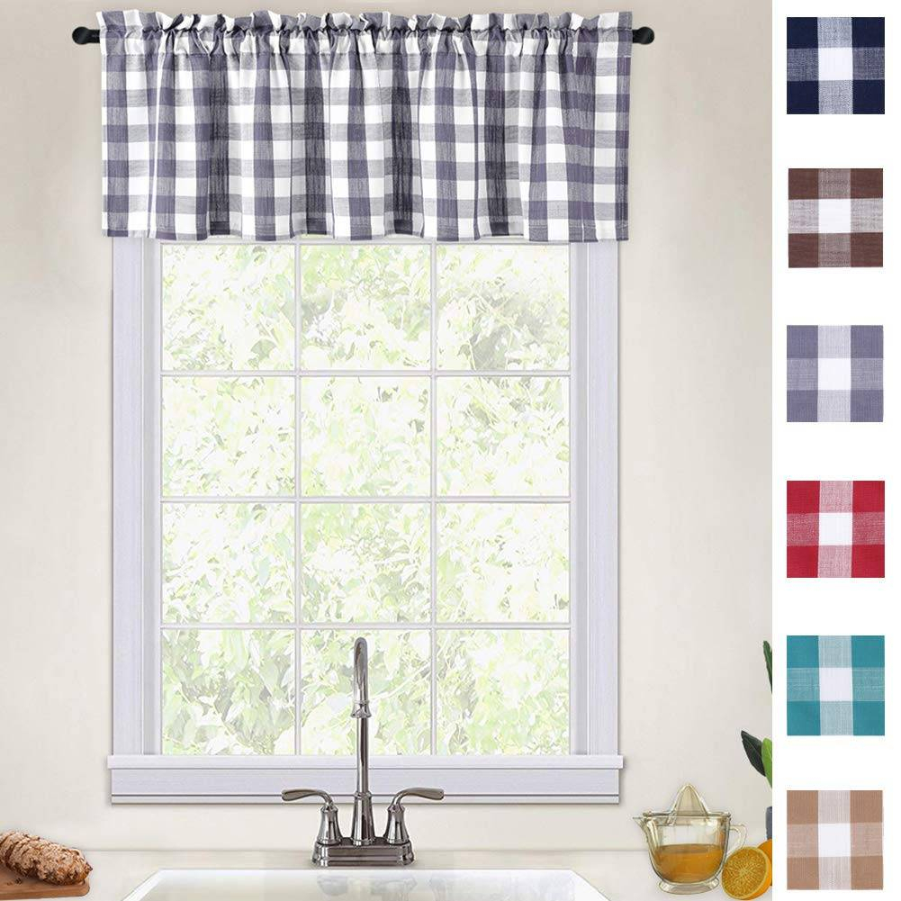 Alluring Black And White Checkered Kitchen Valance Valances With Cotton Blend Classic Checkered Decorative Window Curtains (View 5 of 20)