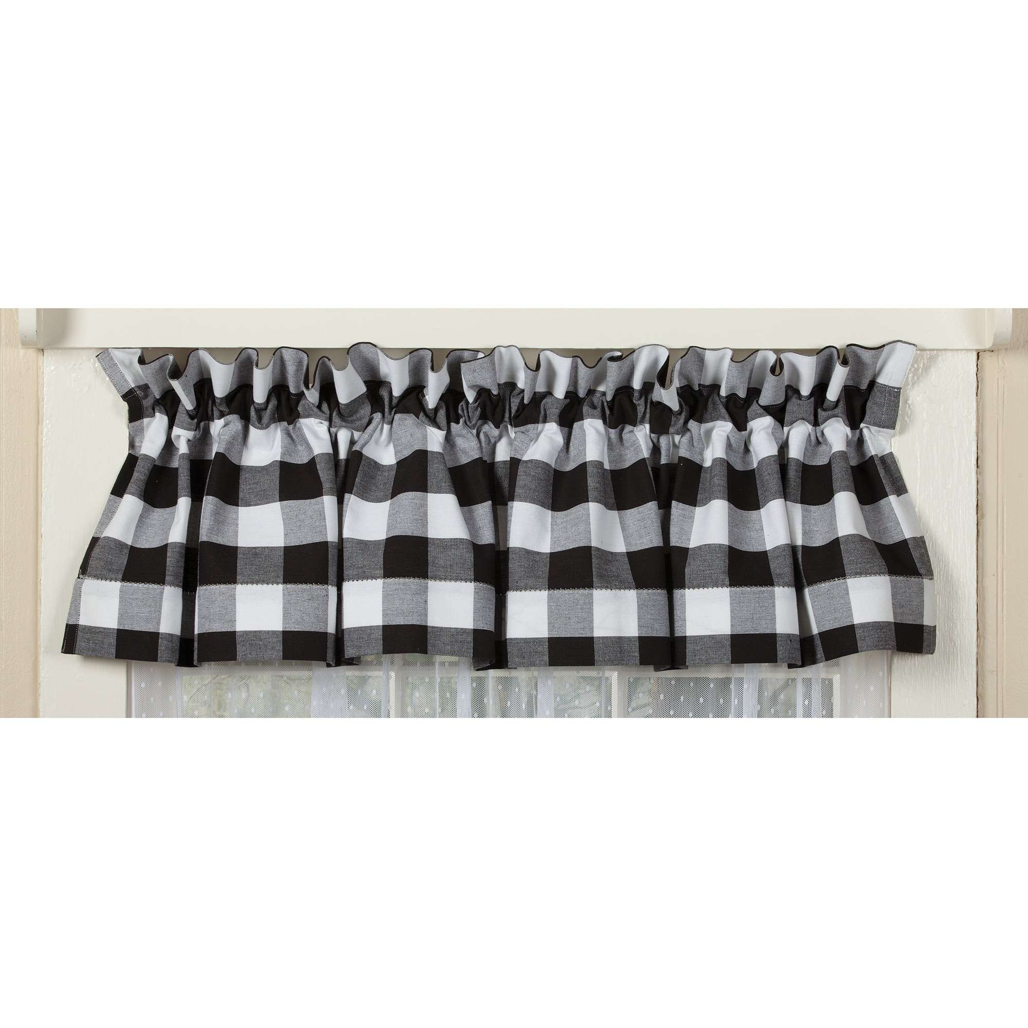 Alluring Black And White Checkered Kitchen Valance Valances With Cotton Blend Classic Checkered Decorative Window Curtains (View 4 of 20)