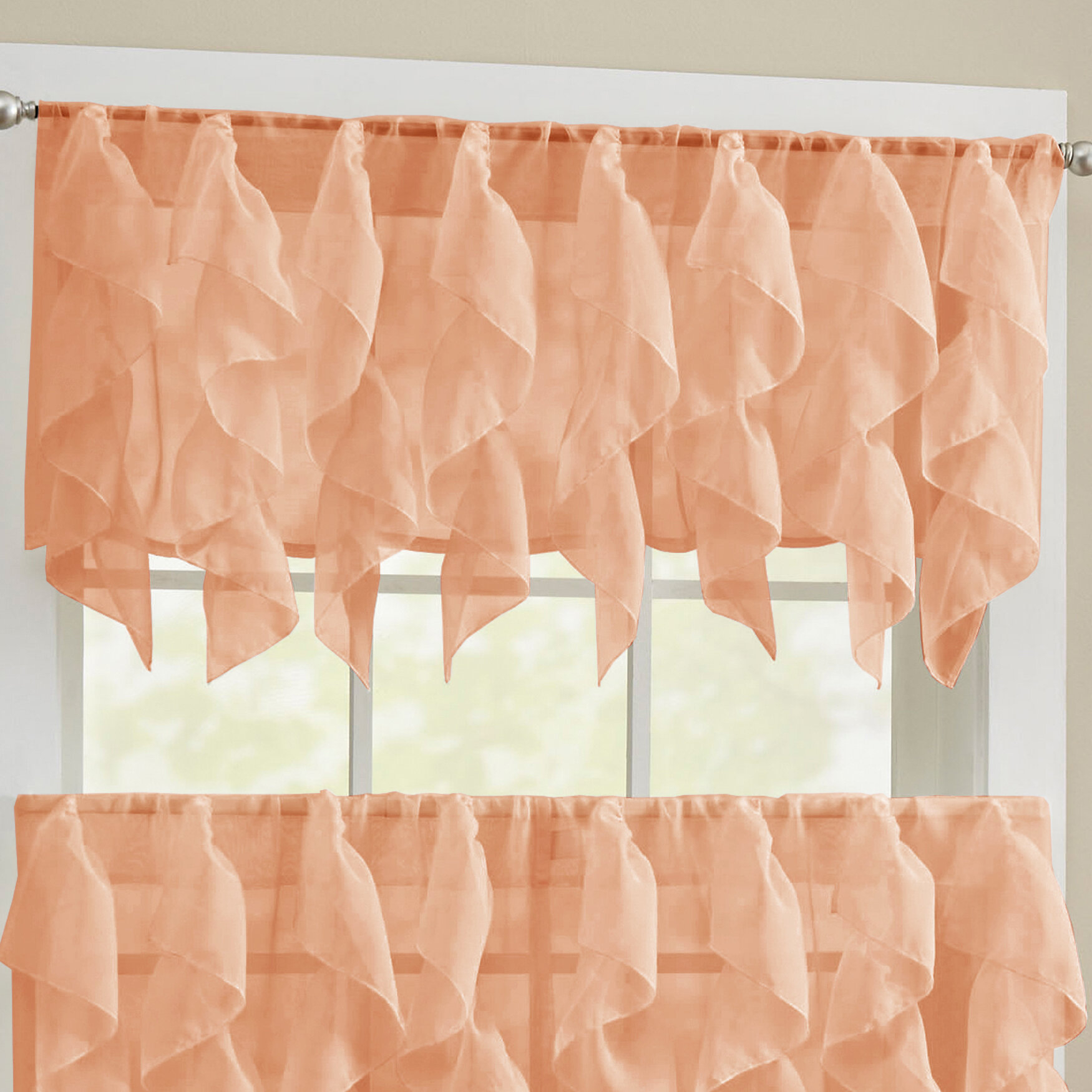 Alonza Window Valance with Maize Vertical Ruffled Waterfall Valance and Curtain Tiers (Image 2 of 20)