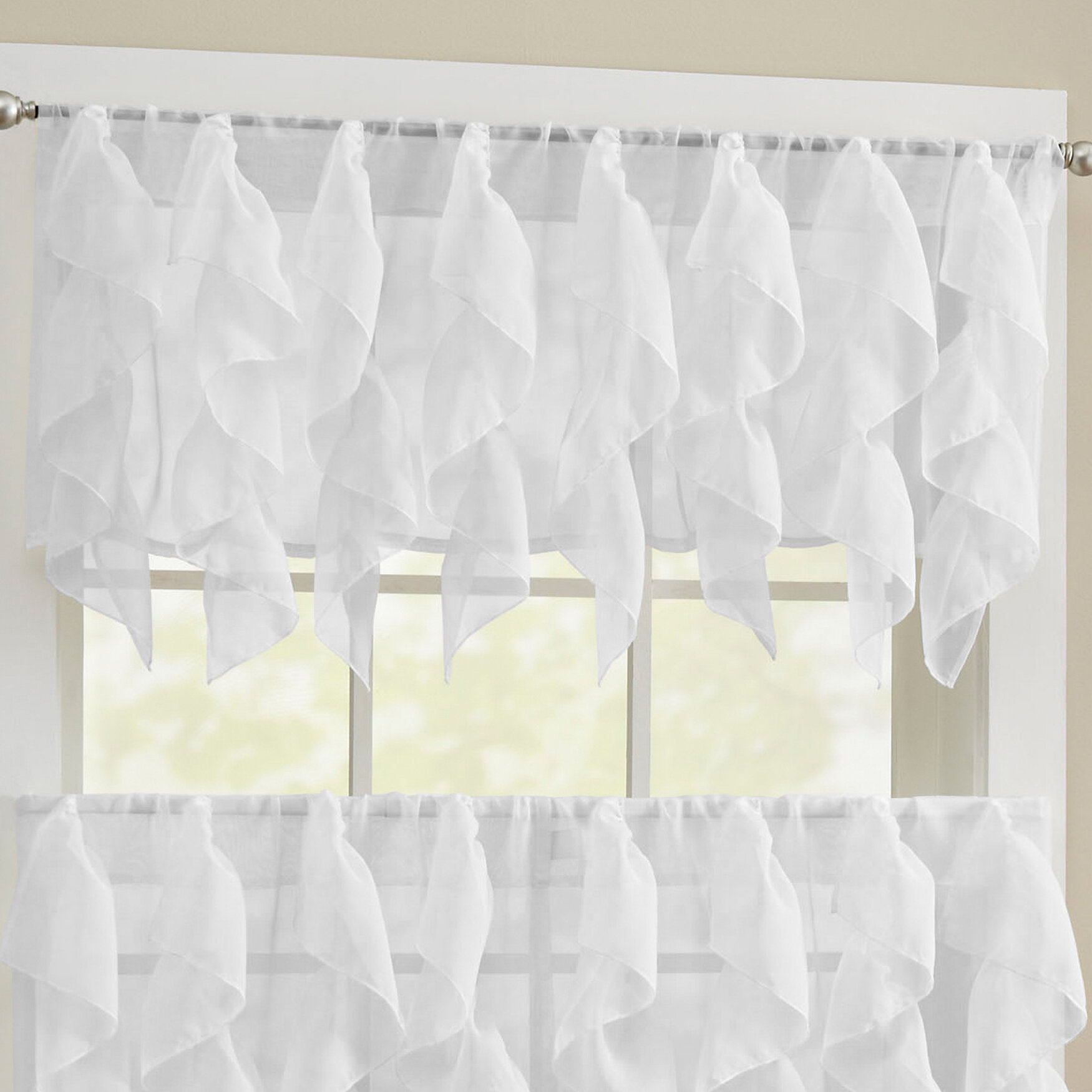 Alonza Window Valance with Maize Vertical Ruffled Waterfall Valance and Curtain Tiers (Image 1 of 20)