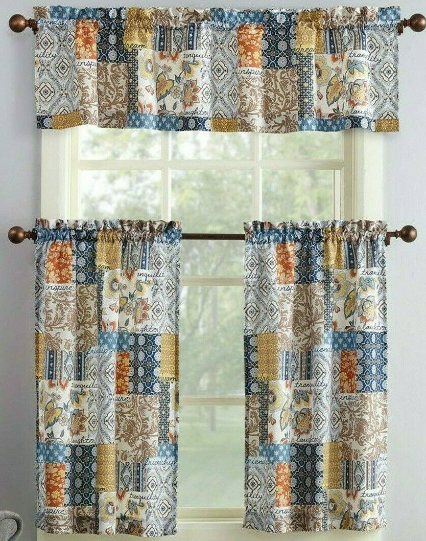 Amelia Patchwork Curtain Valance Set 3pc Navy Blue Tan Spice Microfiber Kitchen With Microfiber 3 Piece Kitchen Curtain Valance And Tiers Sets (View 8 of 20)