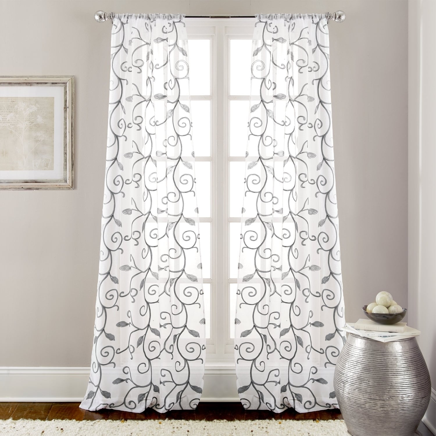Amrapur Overseas Leaf Swirl Embroidered Curtain Panel Pair Pertaining To Ivory Knit Lace Bird Motif Window Curtain (View 1 of 20)