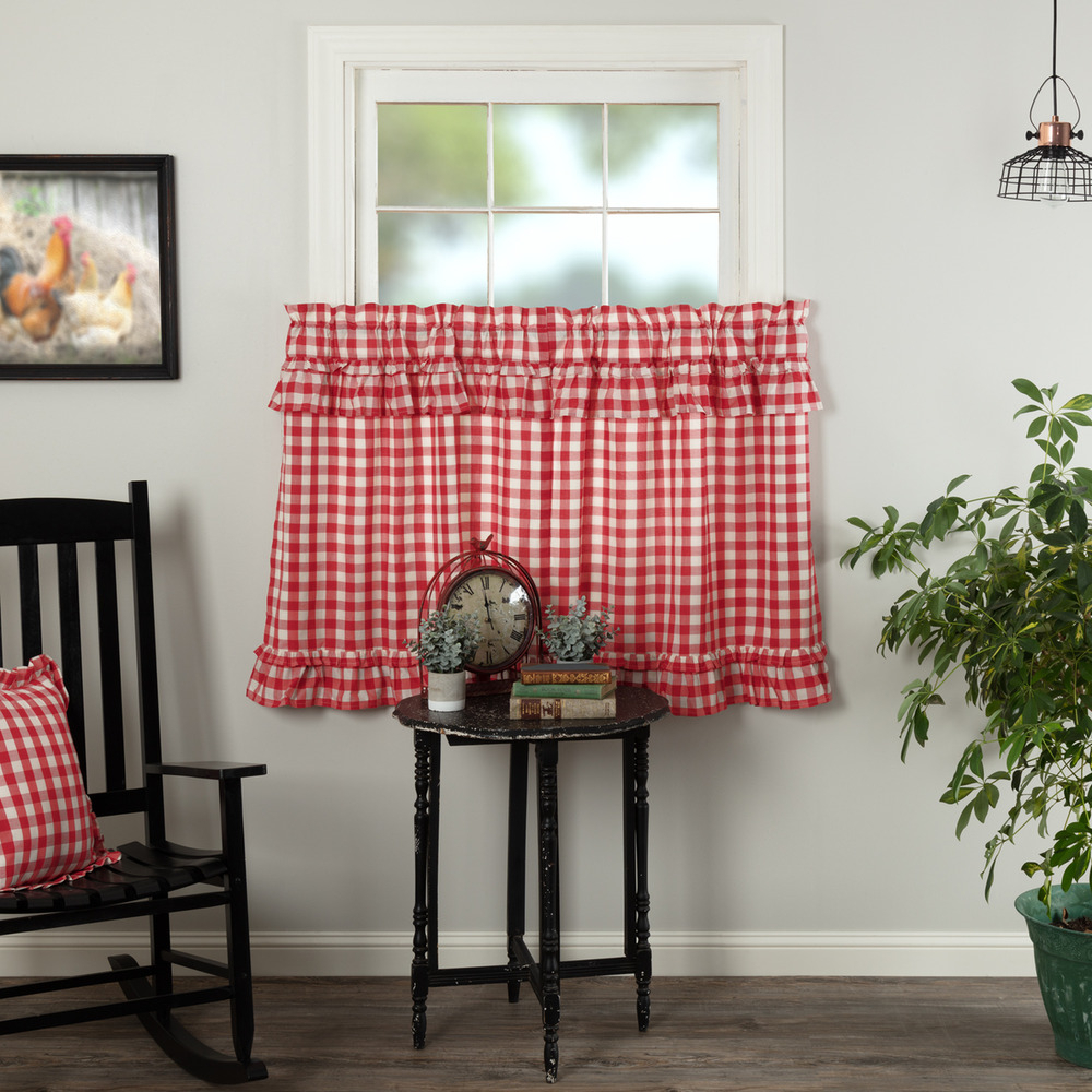 Annie Buffalo Red Check Ruffled Country Farmhouse Lined Cafetiers (2)Sizes | Ebay Regarding Dexter 24 Inch Tier Pairs In Green (View 12 of 20)