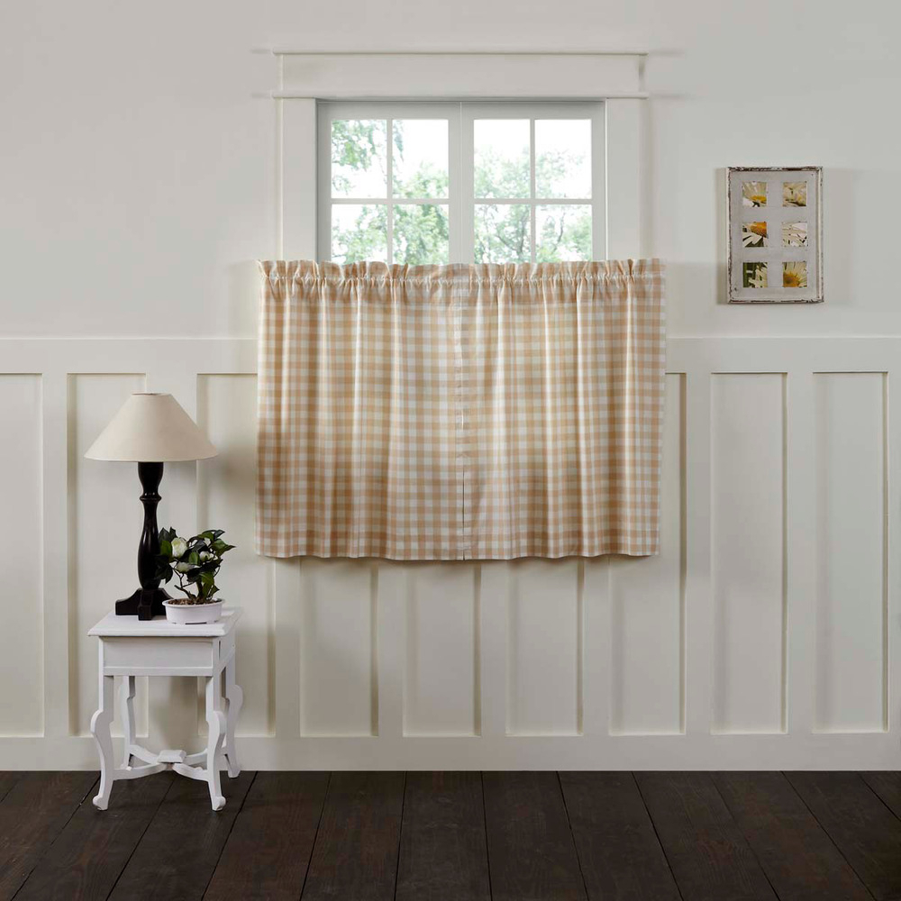 Annie Buffalo Tan Check Country Farmhouse Lined Window Cafe Tiers (2)Sizes  | Ebay intended for Dexter 24 Inch Tier Pairs In Green (Image 3 of 20)