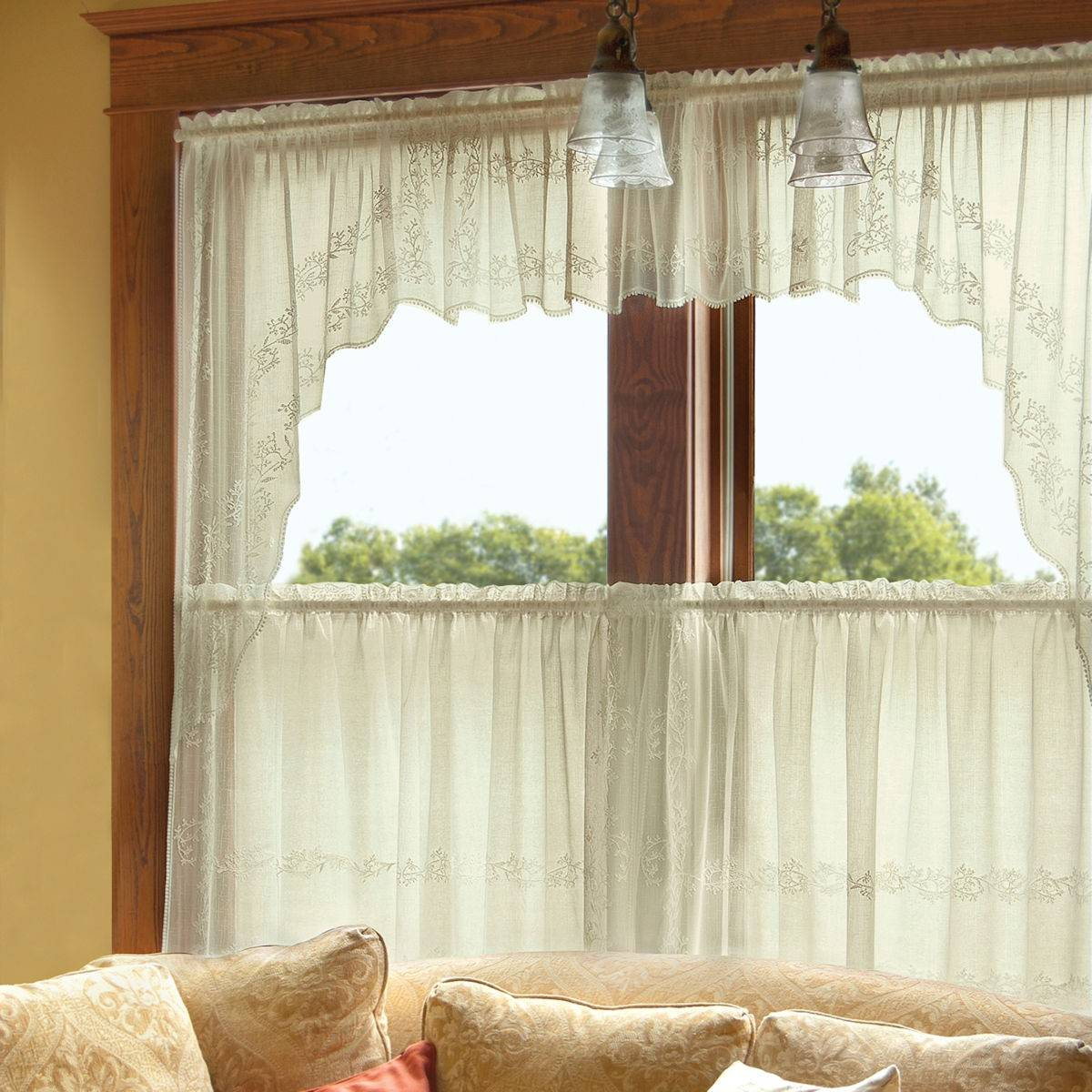 Appealing Lace Curtain Valances And Tiers Ideas Kitchen Intended For Microfiber 3 Piece Kitchen Curtain Valance And Tiers Sets (View 16 of 20)