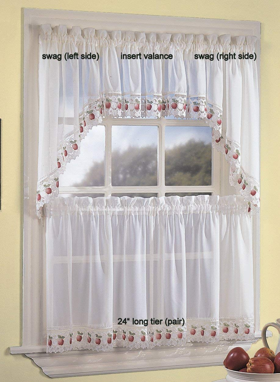 Apple Orchard Sheer Tier Curtains – Everything Log Homes Throughout Sheer Lace Elongated Kitchen Curtain Tier Pairs (View 4 of 20)