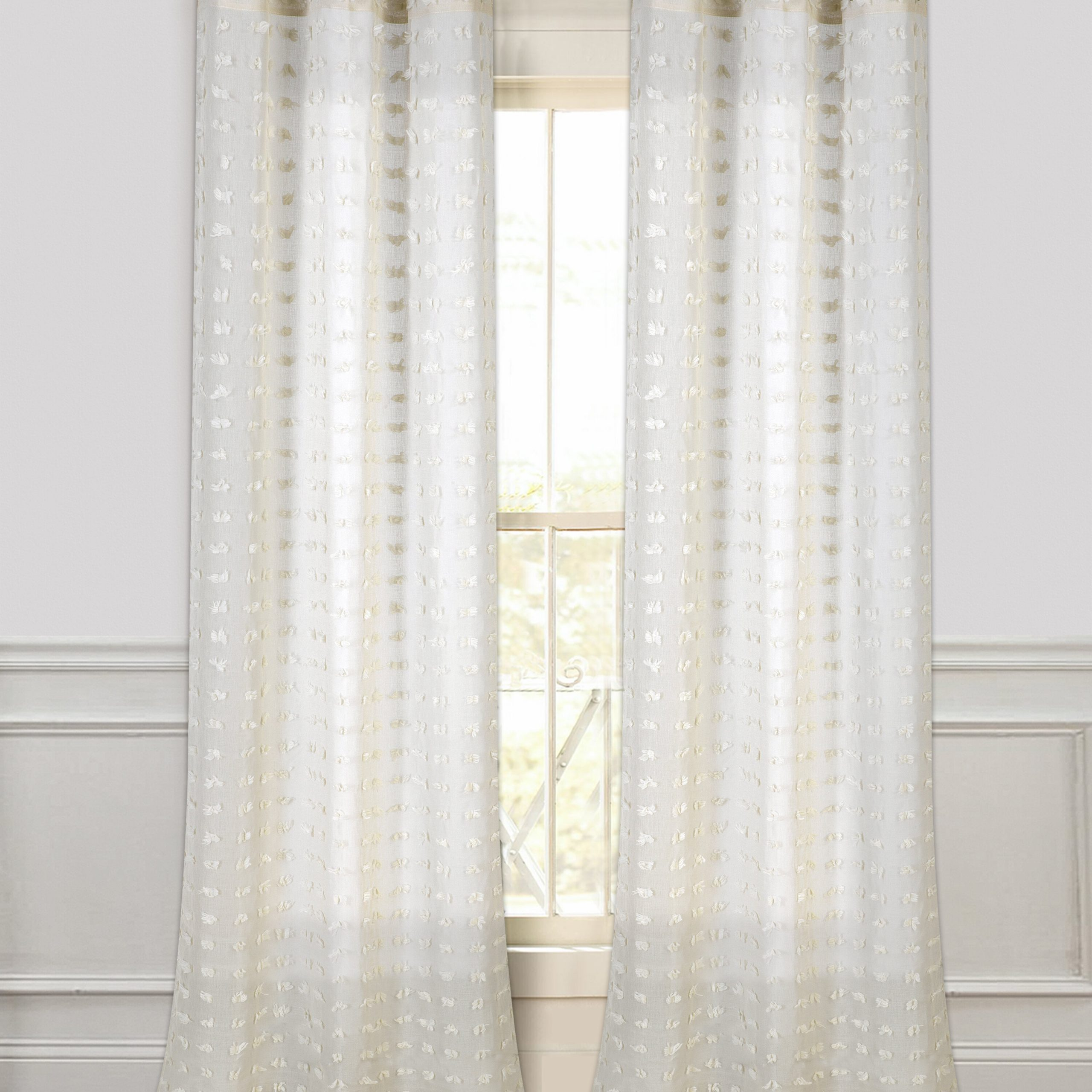 Arielle Solid Semi Sheer Grommet Curtain Panels Inside Ivory Micro Striped Semi Sheer Window Curtain Pieces (View 2 of 20)