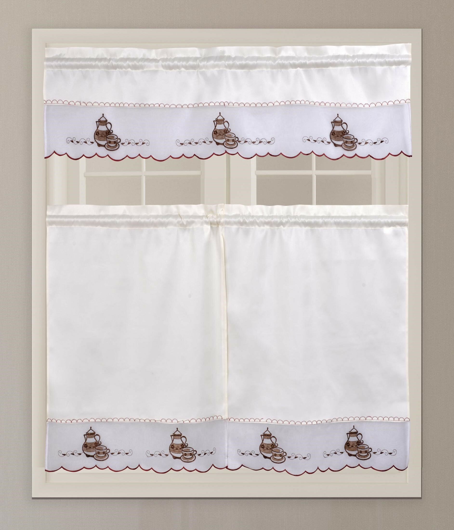 August Grove Custis Coffee Tea Pot Embroidery 3 Piece In Embroidered Ladybugs Window Curtain Pieces (View 14 of 20)