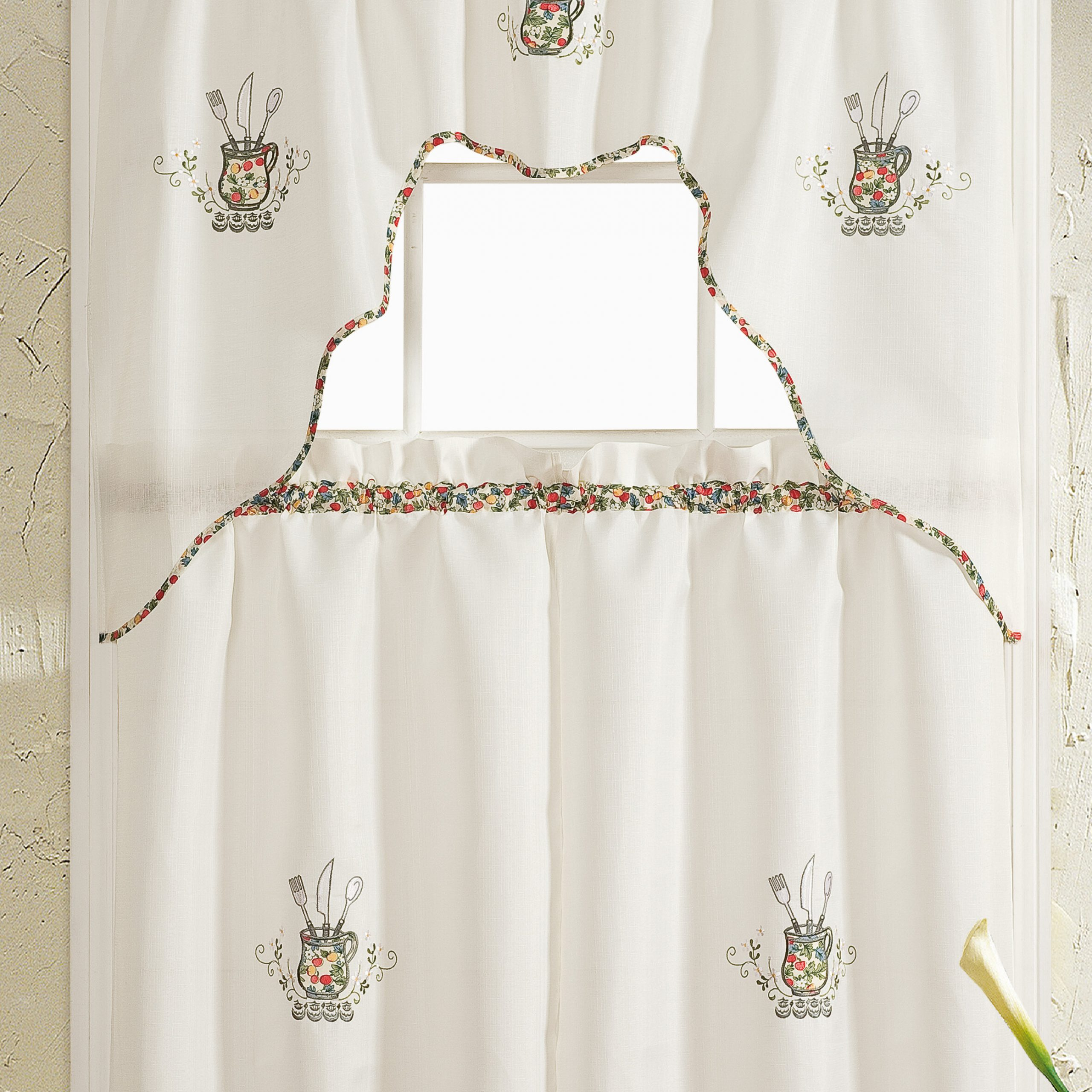 August Grove Hartlepool Silver Embroidered Kitchen Curtain Inside Abby Embroidered 5 Piece Curtain Tier And Swag Sets (Image 4 of 20)