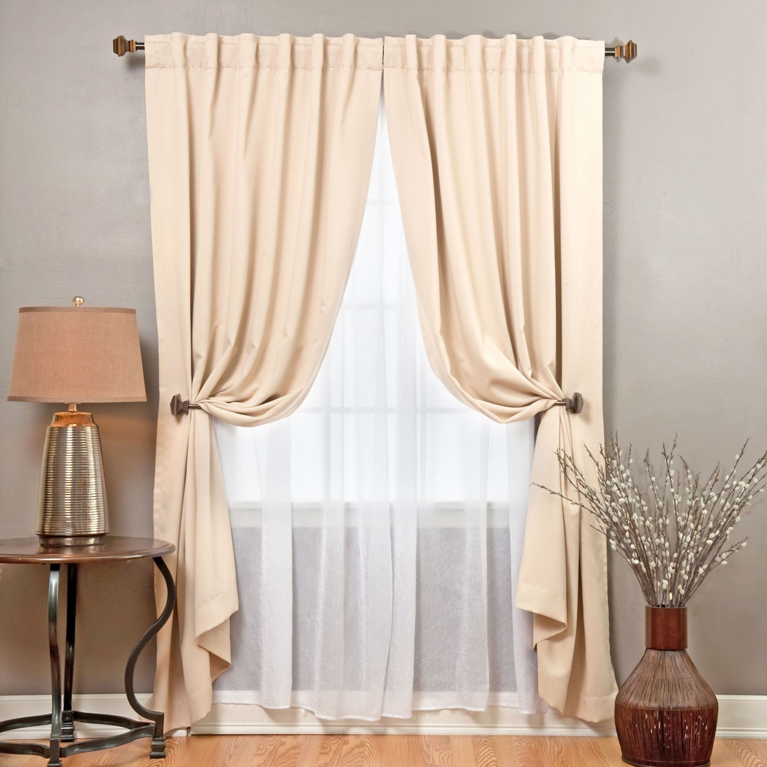 Aurora Home Mix And Match Blackout With Crushed Voile Sheer Throughout Elegant Crushed Voile Ruffle Window Curtain Pieces (View 15 of 20)