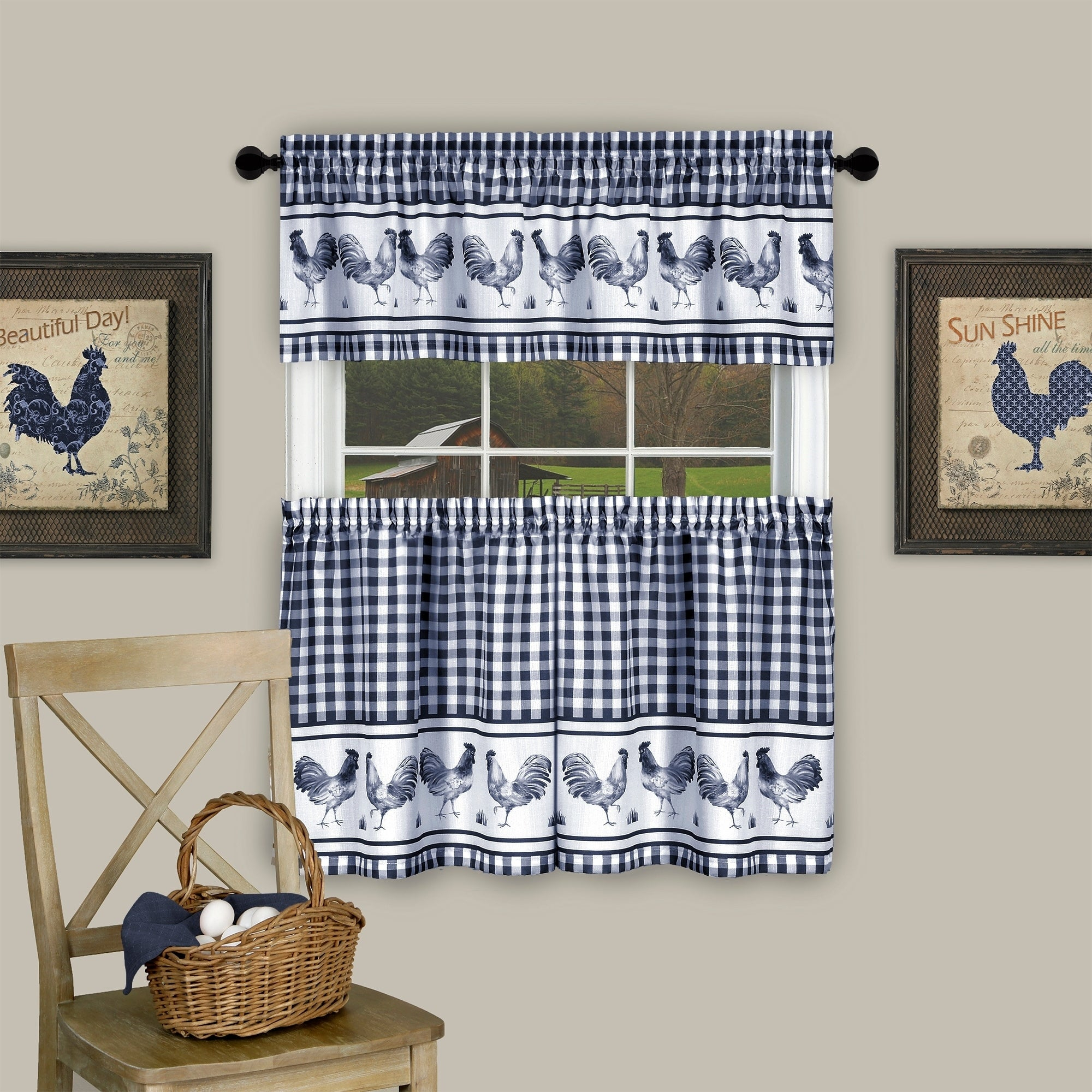 Barnyard Window Curtain Tier Pair And Valance Set With Barnyard Buffalo Check Rooster Window Valances (View 2 of 20)