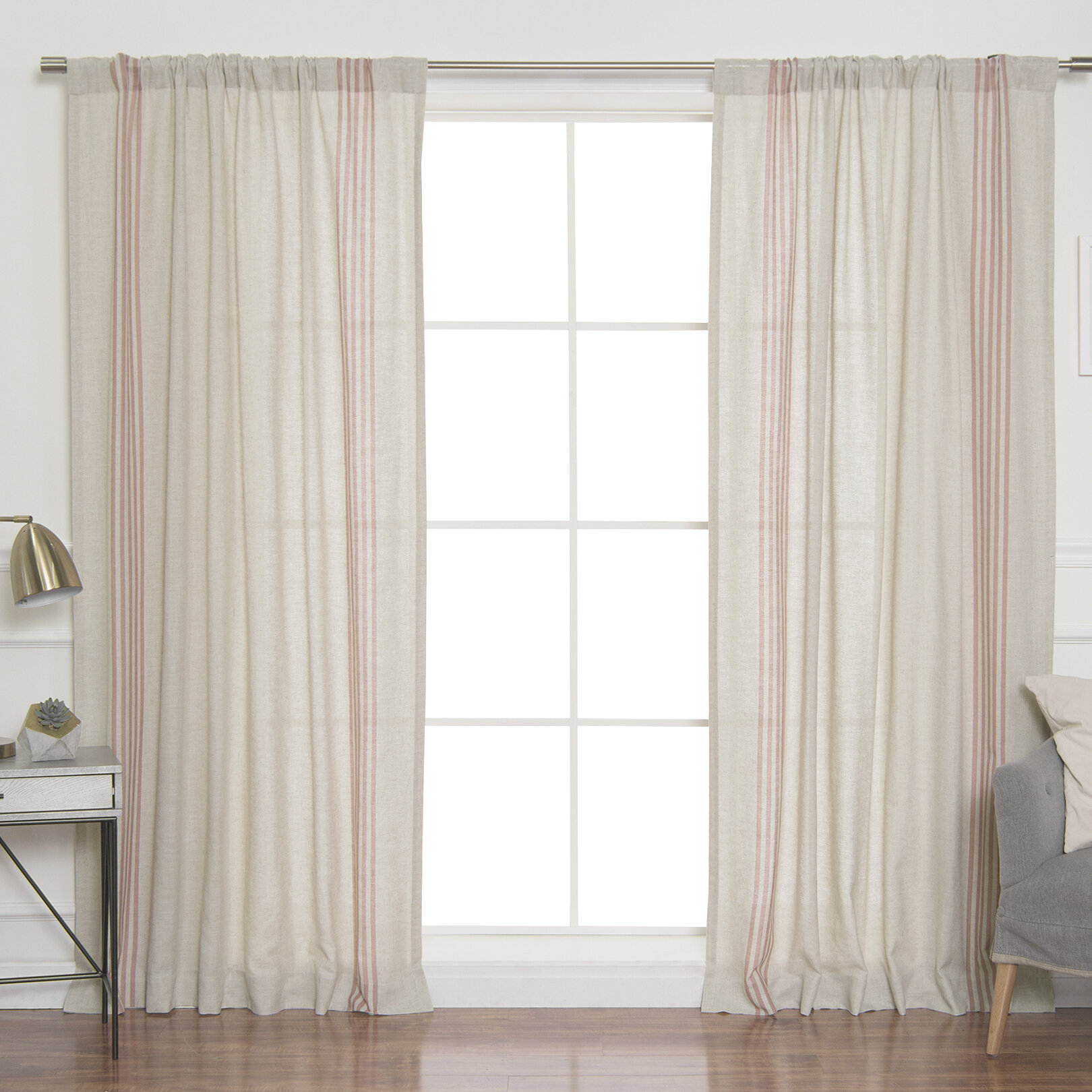 Bateman Striped Sheer Rod Pocket Curtain Panels Pertaining To Ivory Micro Striped Semi Sheer Window Curtain Pieces (View 4 of 20)
