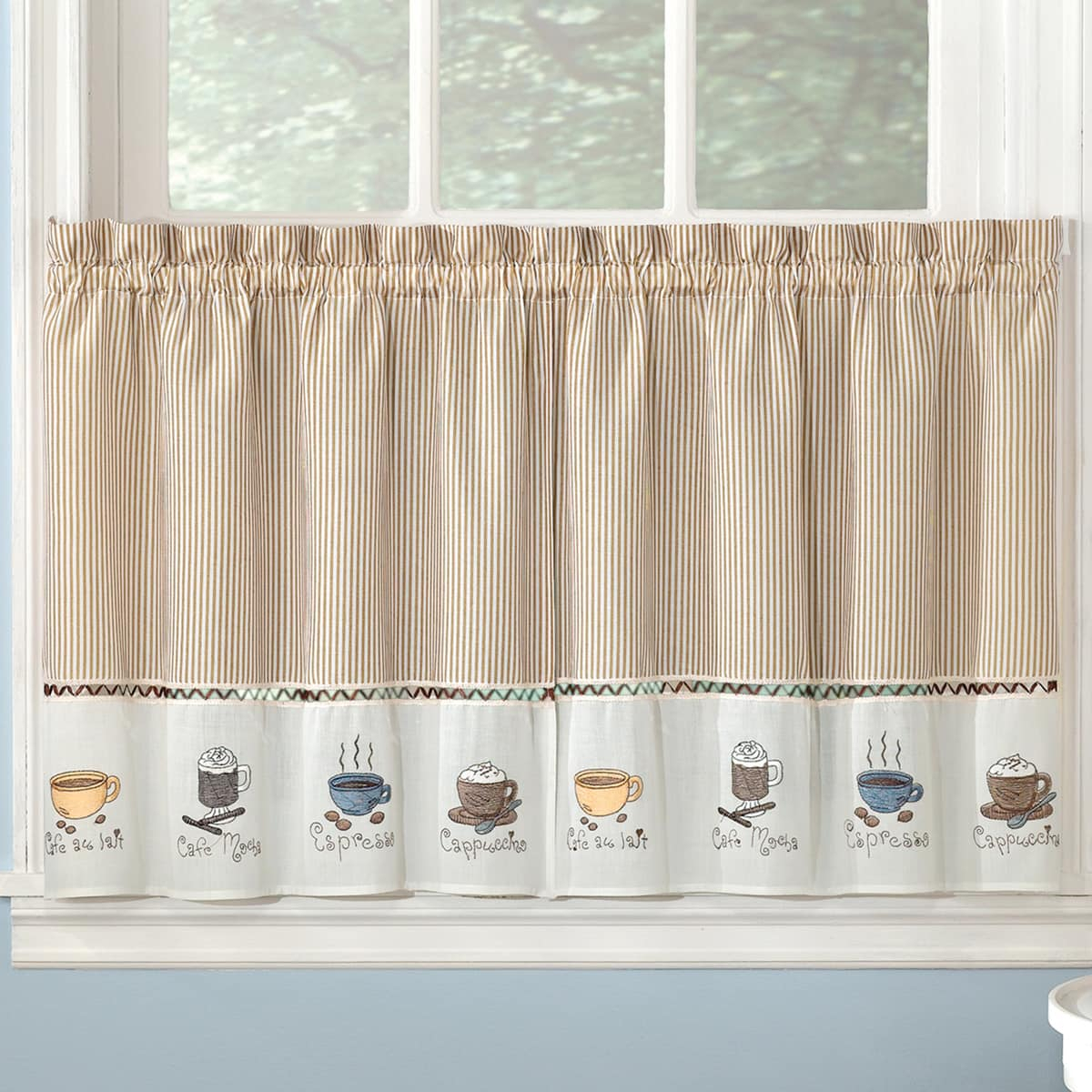 Bed Bath N More Favorite Coffee Drinks Embroidered Window Treatments Valance And Tiers Intended For Coffee Drinks Embroidered Window Valances And Tiers (View 3 of 20)