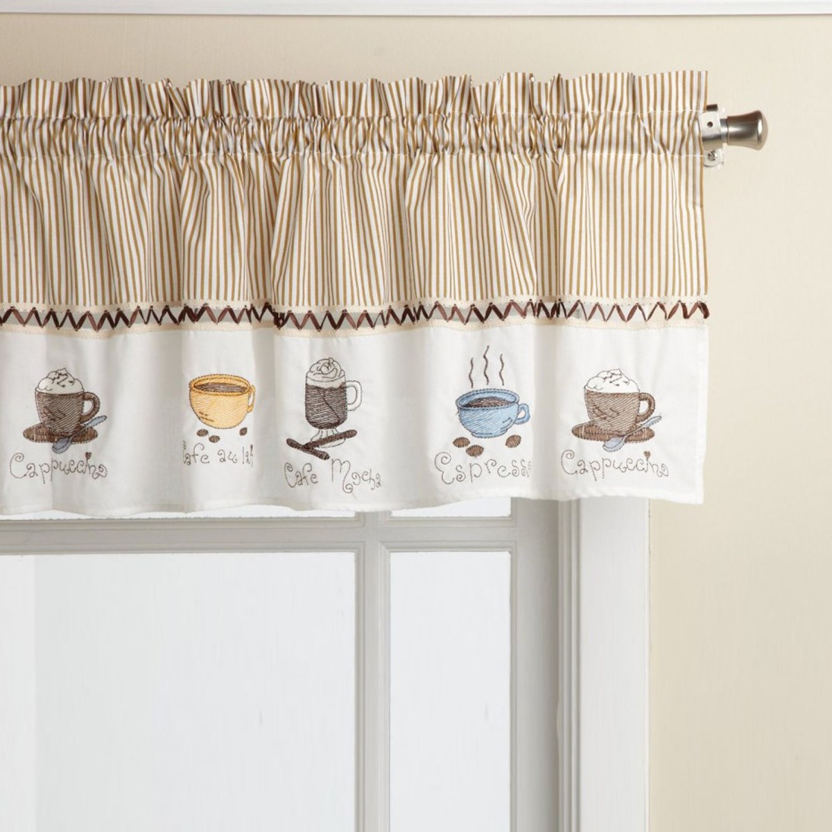Bed Bath N More Favorite Coffee Drinks Embroidered Window Treatments Valance And Tiers Intended For Coffee Drinks Embroidered Window Valances And Tiers (View 2 of 20)