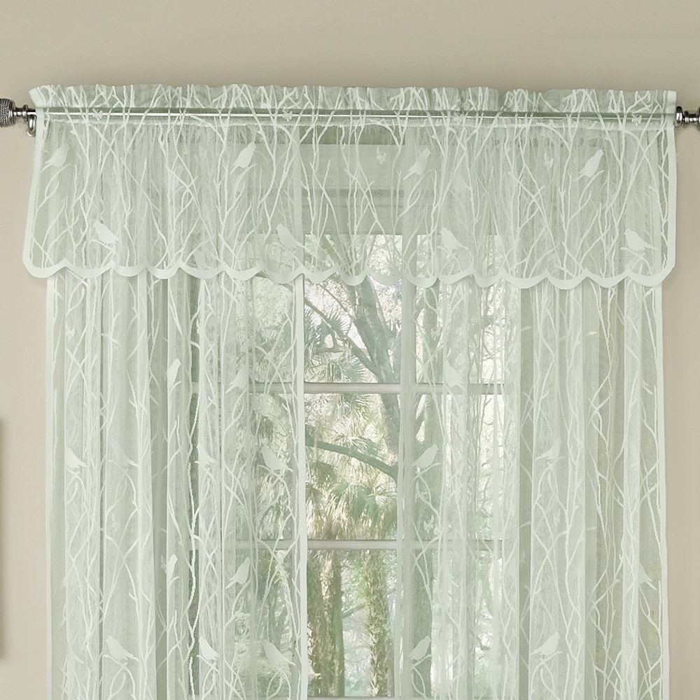 Bed Bath N More Ivory Knit Lace Bird Motif Window Treatments Intended For Ivory Knit Lace Bird Motif Window Curtain (View 2 of 20)