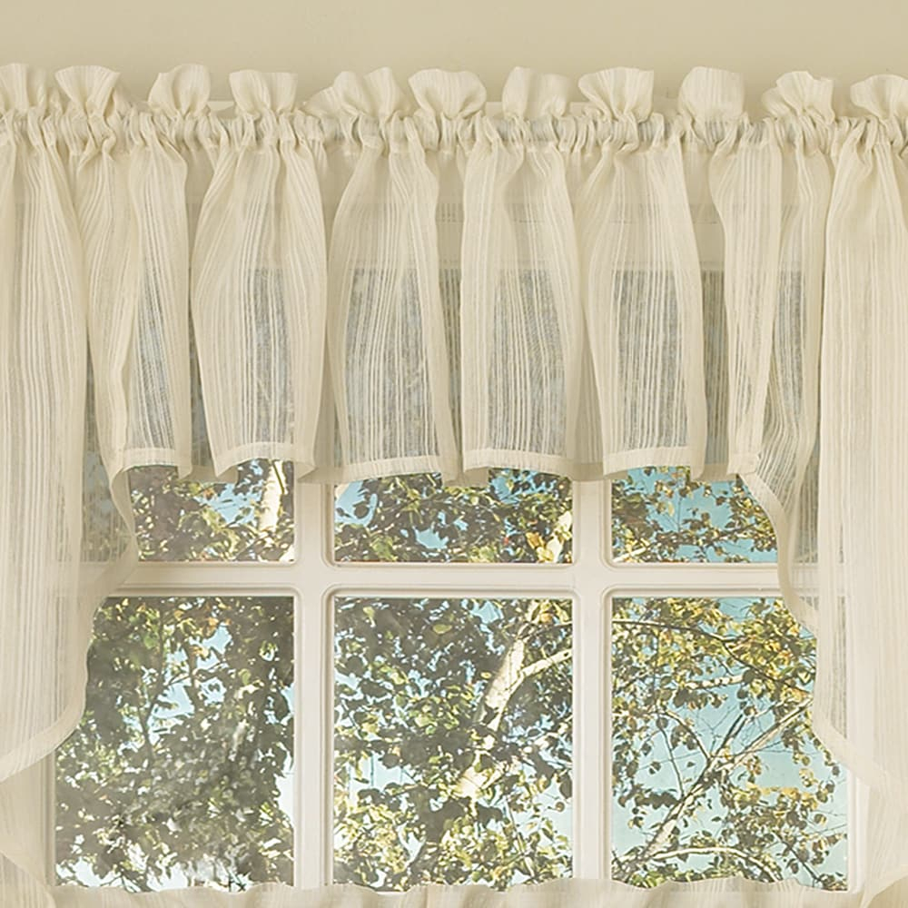Bed Bath N More Ivory Micro Striped Semi Sheer Window Curtain Pieces – Tiers, Valance And Swag Options Inside Touch Of Spring 24 Inch Tier Pairs (View 18 of 20)