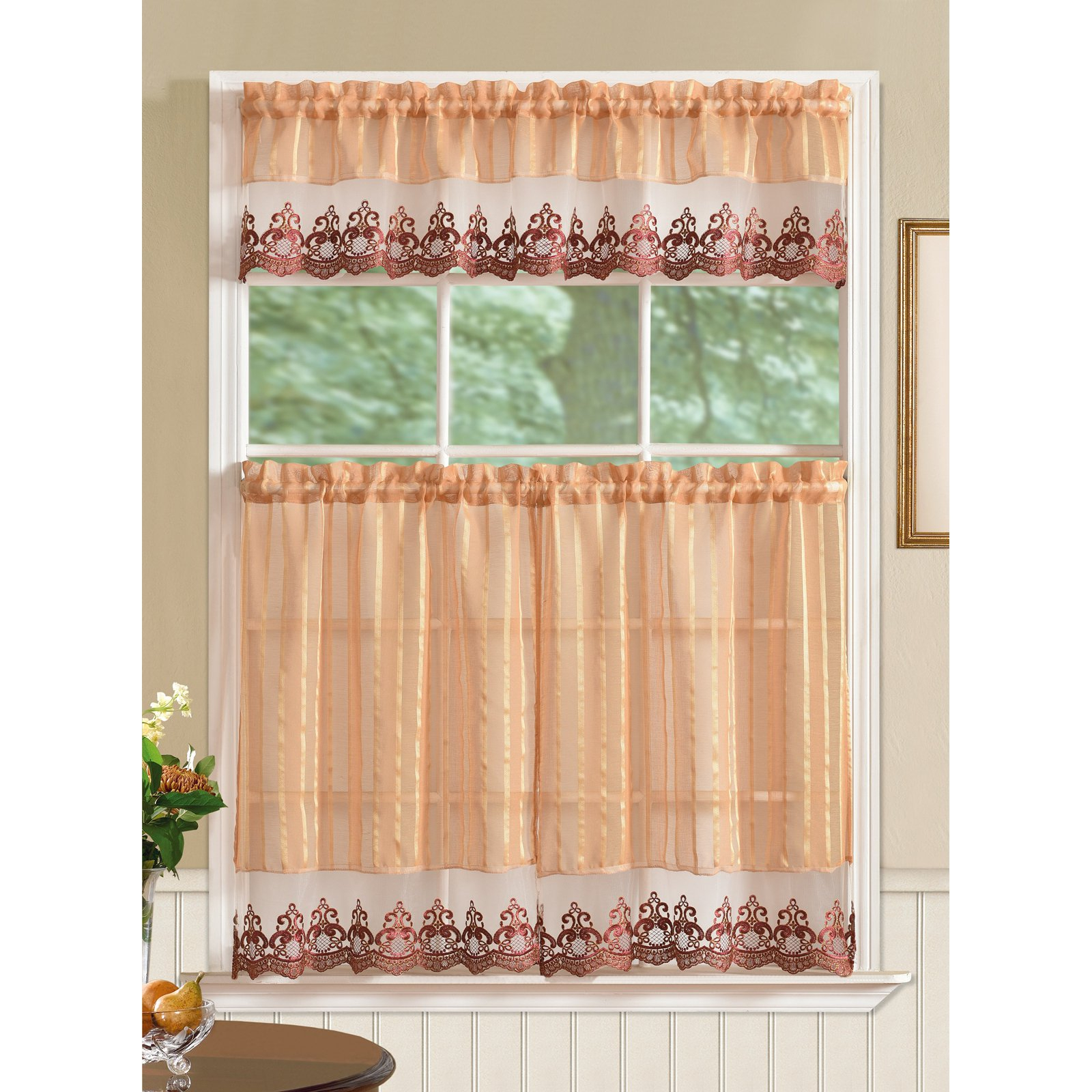 Bella Tier And Valance Kitchen Curtain Set, Gold – Walmart Within Abby Embroidered 5 Piece Curtain Tier And Swag Sets (Image 5 of 20)