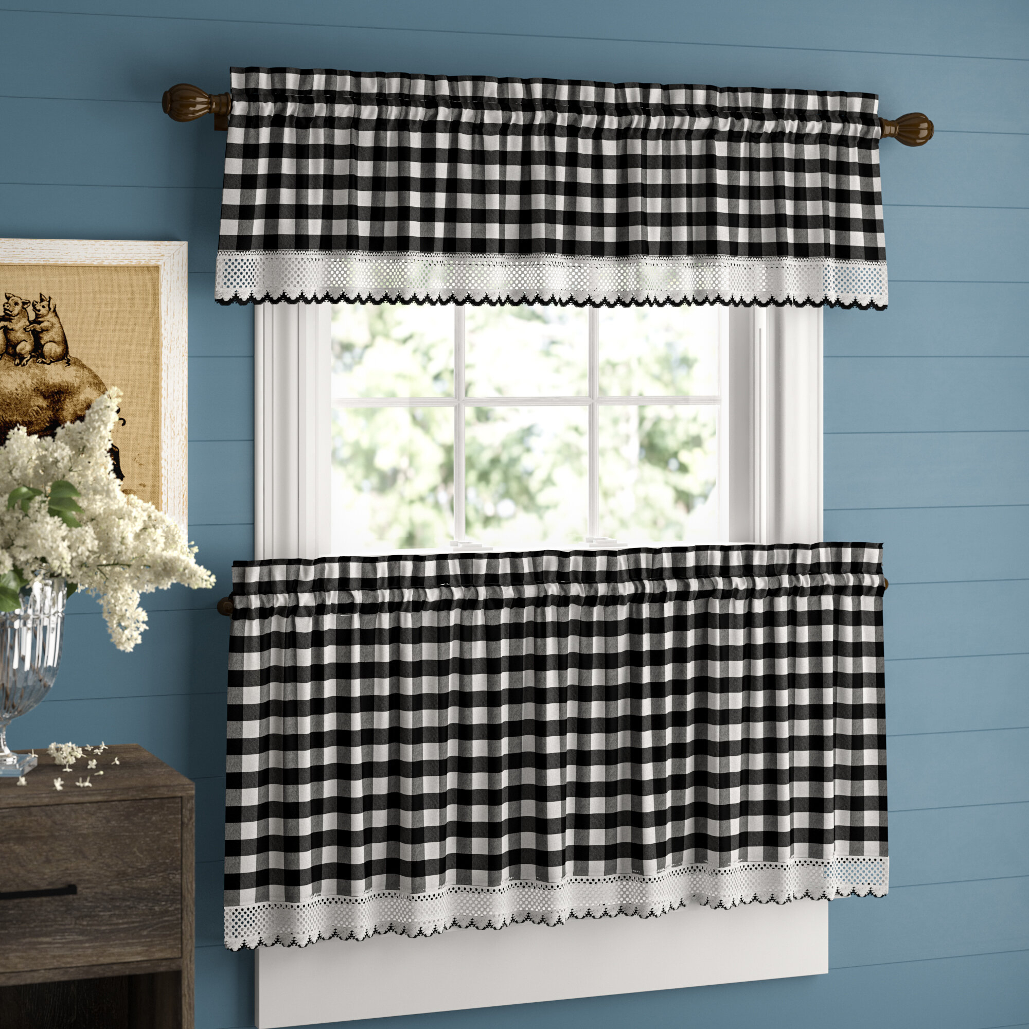 Bellair Country Plaid Complete 3 Piece Tier & Valance Kitchen Curtain For Classic Navy Cotton Blend Buffalo Check Kitchen Curtain Sets (View 13 of 20)