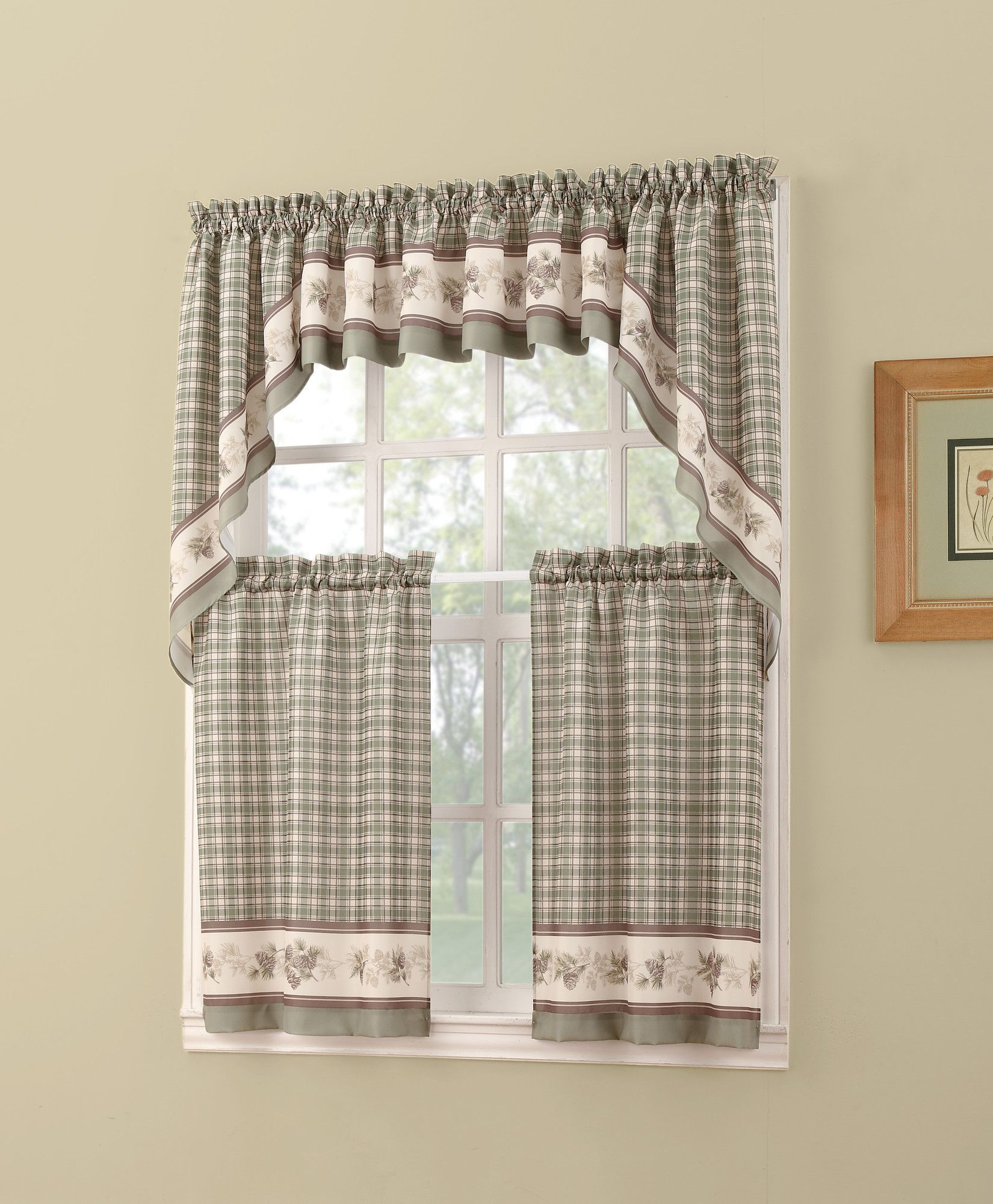 Berkshire Rod Pocket Tier Set | Curtains | Curtains, Valance Inside Cotton Blend Ivy Floral Tier Curtain And Swag Sets (View 2 of 20)