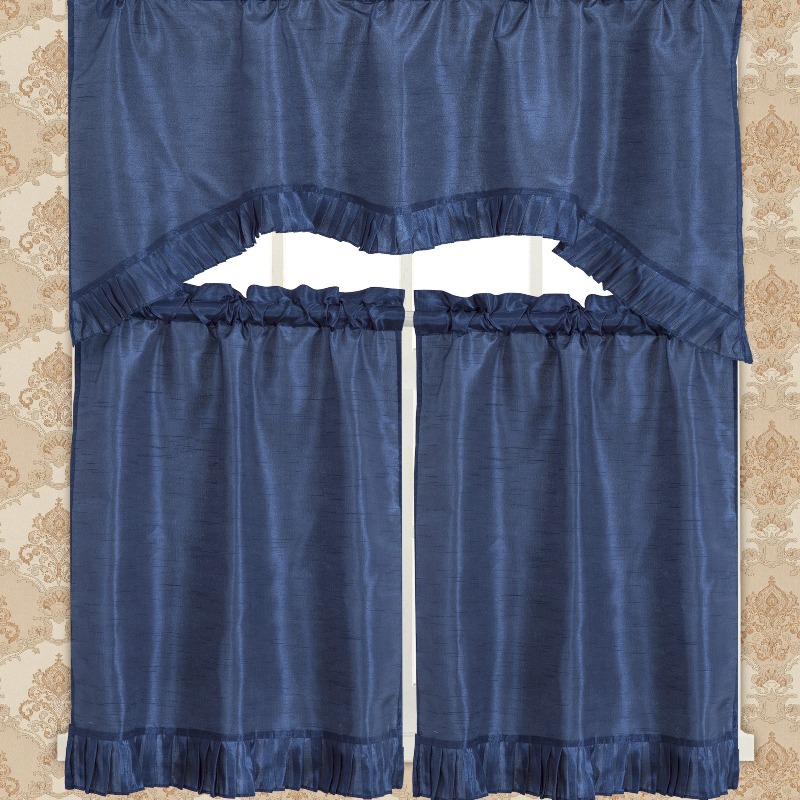 Bermuda Ruffle Kitchen Curtain Tier Set Regarding Bermuda Ruffle Kitchen Curtain Tier Sets (View 2 of 20)