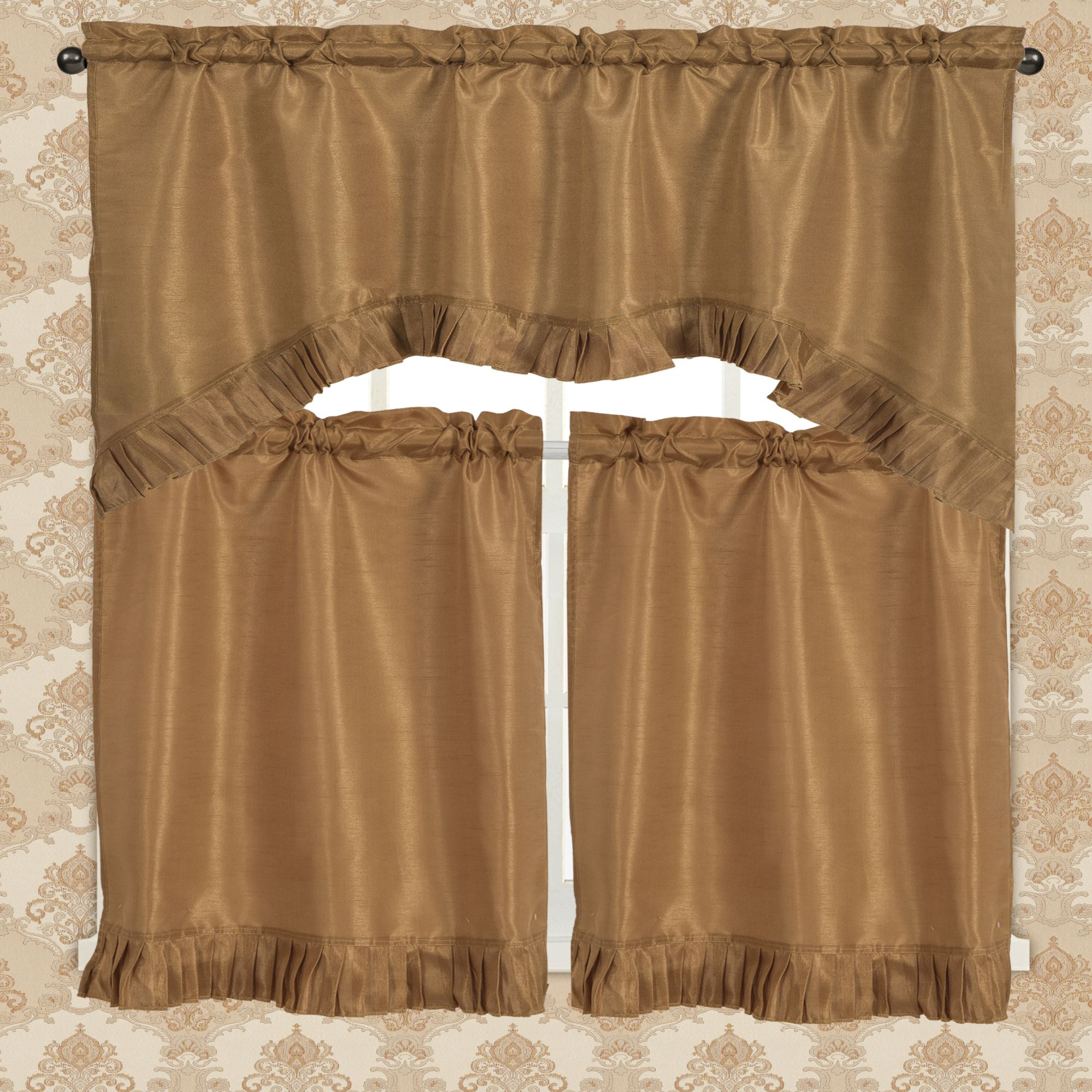 Bermuda Ruffle Kitchen Curtain Tier Set Throughout Bermuda Ruffle Kitchen Curtain Tier Sets (View 4 of 20)
