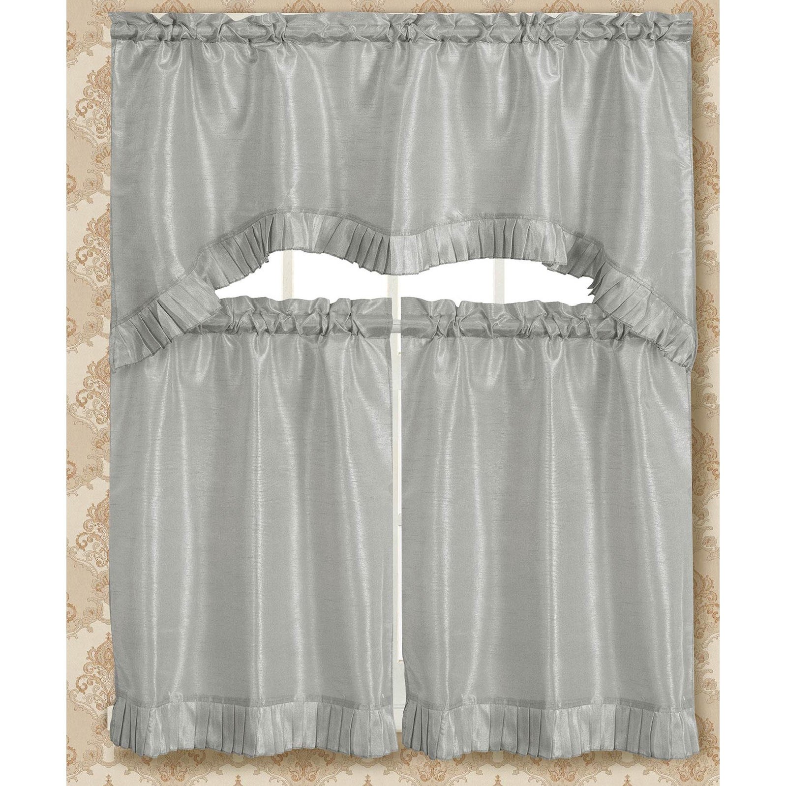 Bermuda Ruffle Kitchen Curtain Tier Set Within Bermuda Ruffle Kitchen Curtain Tier Sets (View 3 of 20)