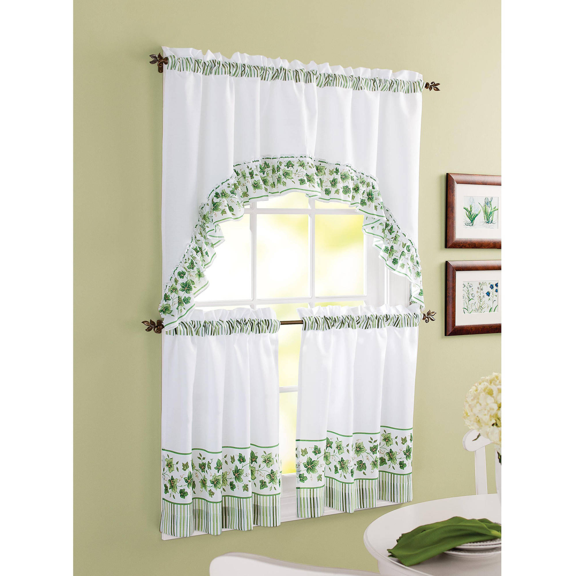 Better Homes & Gardens Ivy Kitchen Curtain Set In Cotton Blend Ivy Floral Tier Curtain And Swag Sets (View 3 of 20)