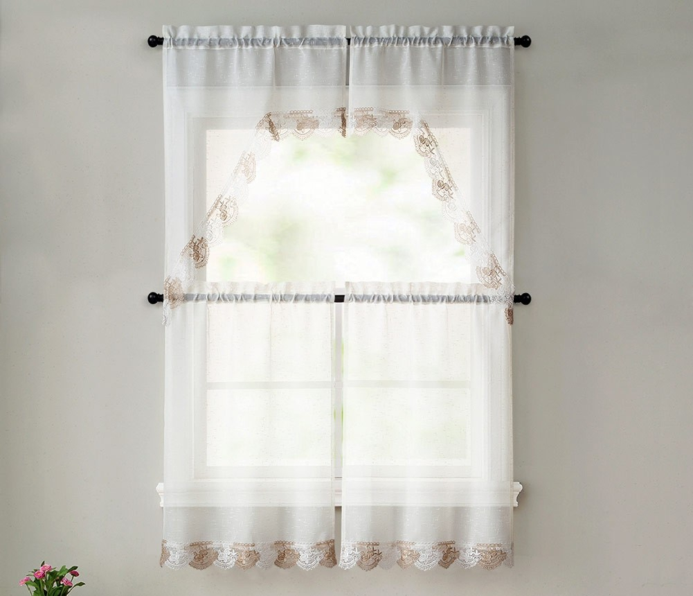 Betty 4 Piece Macrame Tier And Swag Kitchen Curtain Set, Beige Taupe, 27X36 Inches Inside Chardonnay Tier And Swag Kitchen Curtain Sets (View 8 of 20)