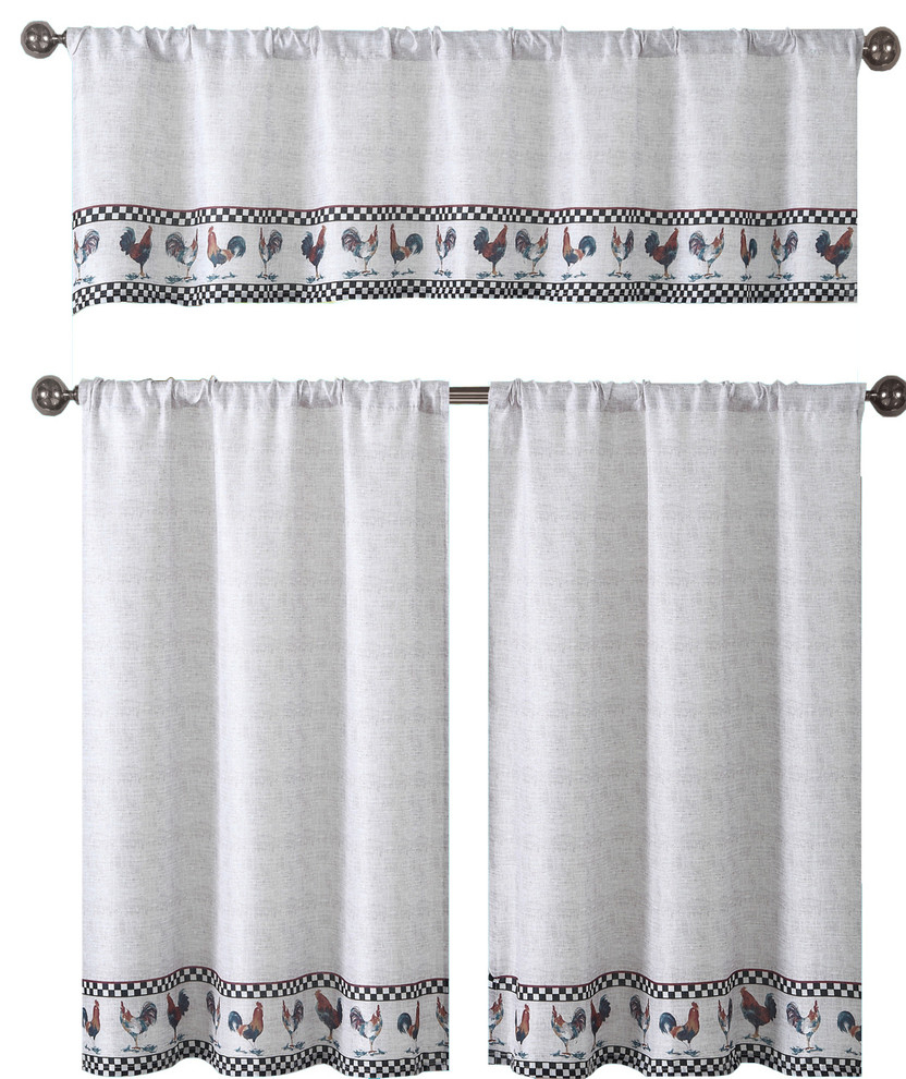 Bistro Beige Kitchen Curtain Set, Roosters With Black Checked Pattern, 3 Piece In Cotton Blend Ivy Floral Tier Curtain And Swag Sets (View 4 of 20)