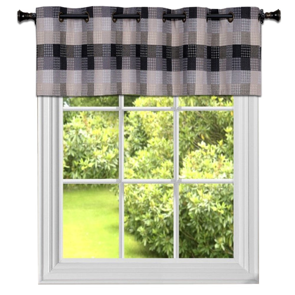 Black Cotton Blend Classic Checkered Decorative Window Curtain Separates Tier Pair Or Valance In Cotton Blend Classic Checkered Decorative Window Curtains (View 6 of 20)